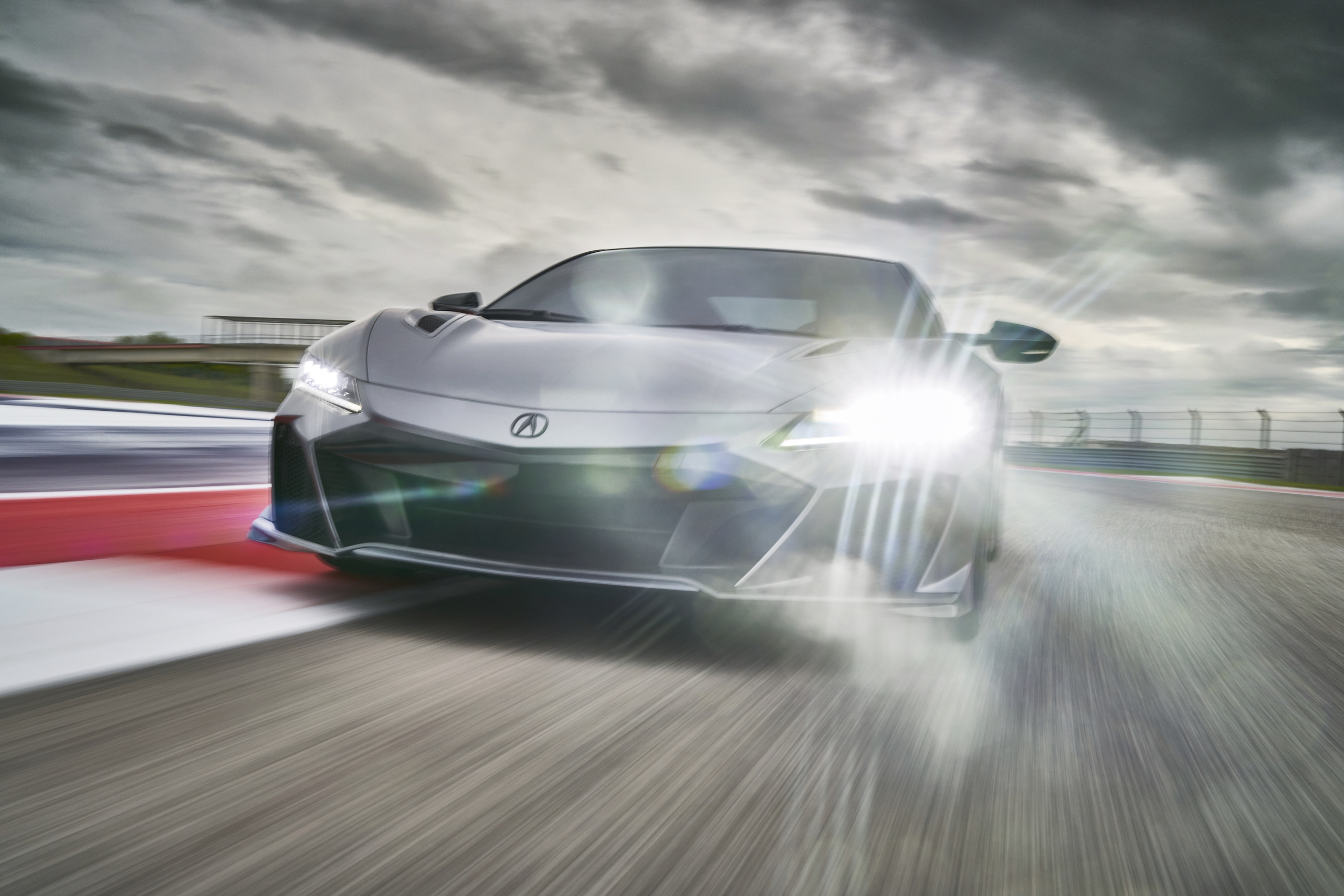 2022 Acura NSX Type S front end lights on track action