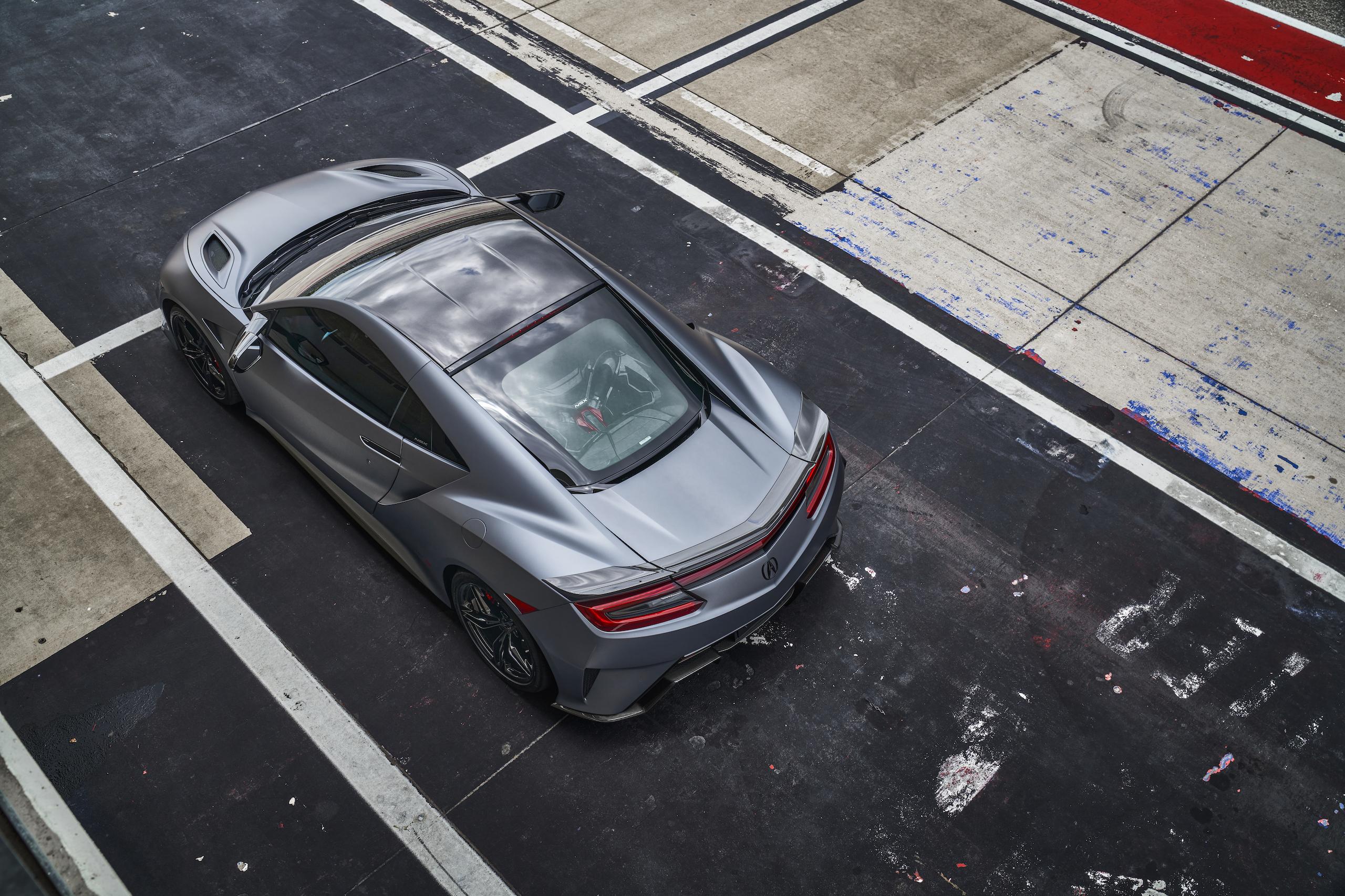 2022 Acura NSX Type S overhead rear three-quarter