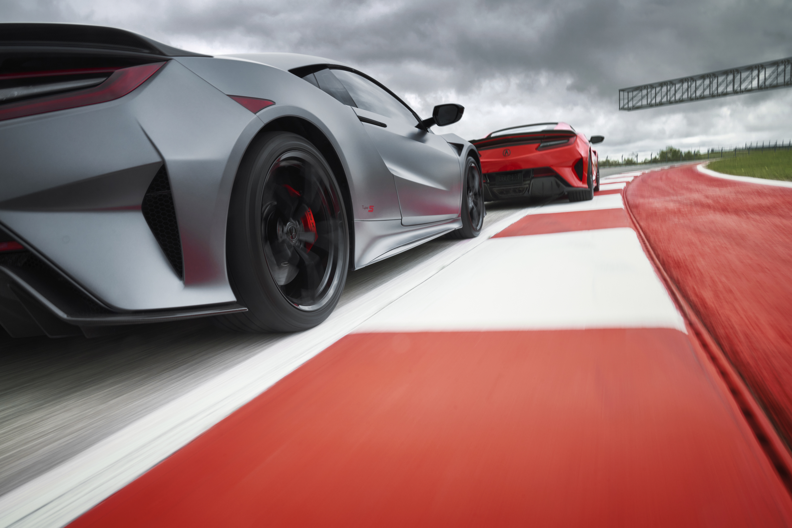 2022 Acura NSX Type S grey and red rear track action