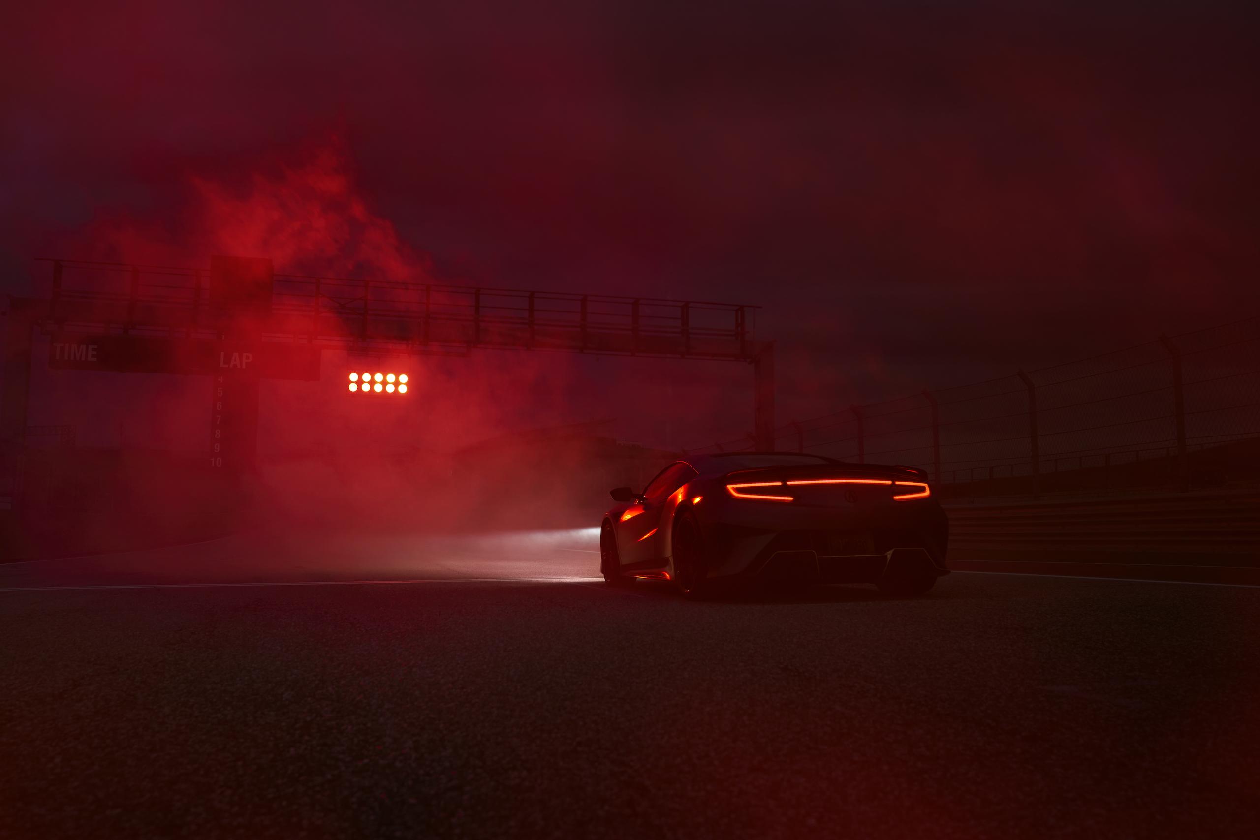 2022 Acura NSX Type S rear three-quarter red smoke
