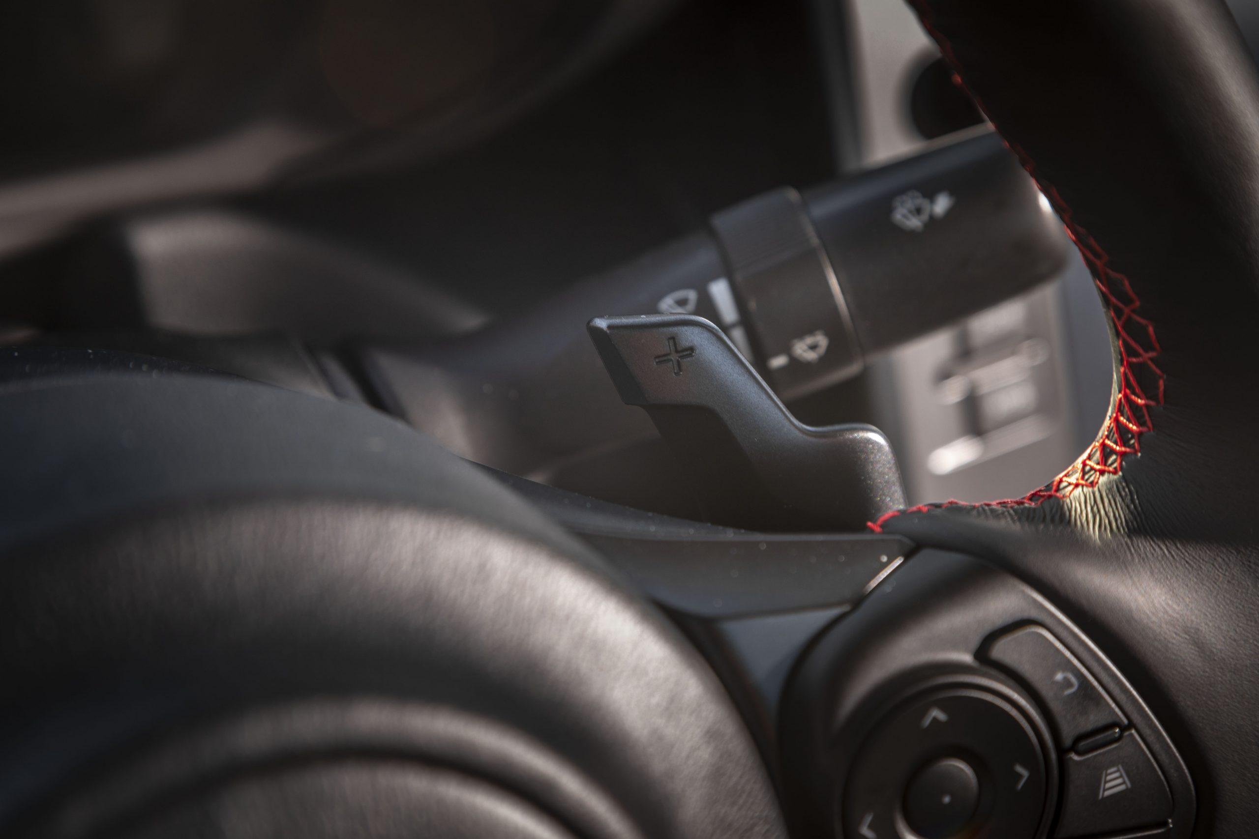 2022 Subaru BRZ interior paddle shifter detail