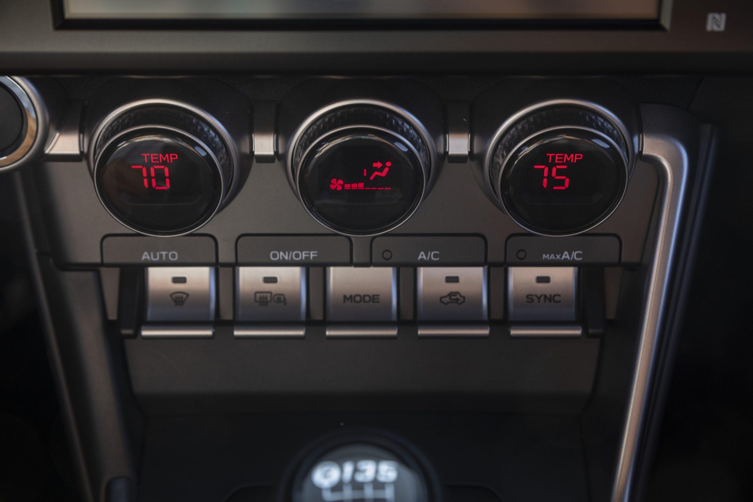2022 Subaru BRZ interior climate controls