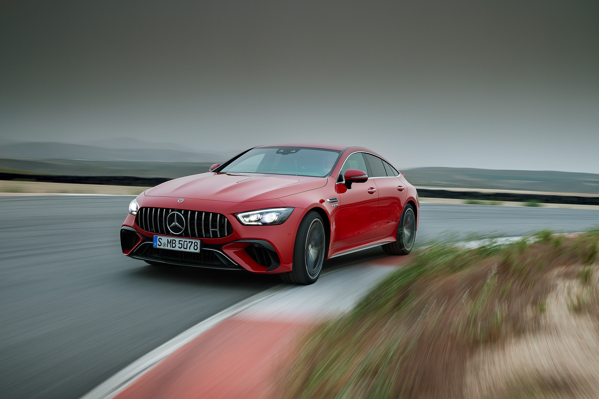 2023-Mercedes-AMG-GT-63-S-E-Performance front three-quarter action