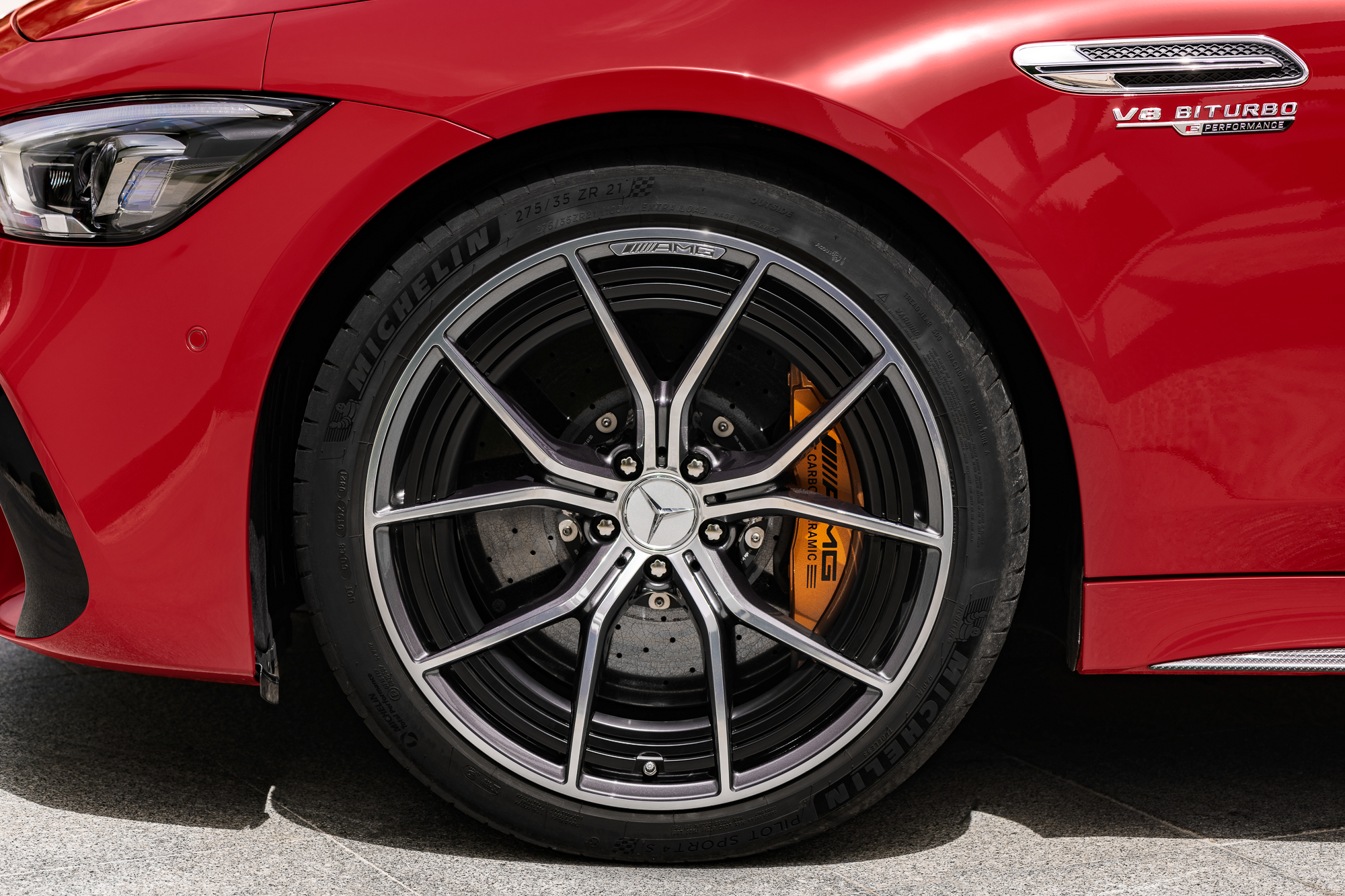 2023-Mercedes-AMG-GT-63-S-E-Performance front wheel tire brakes