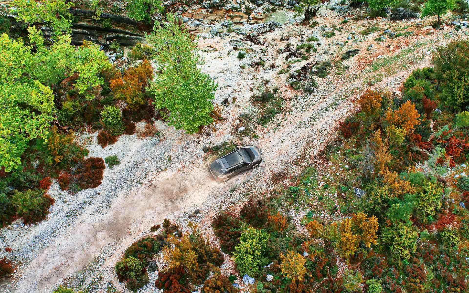 Subaru Solterra overhead two track action