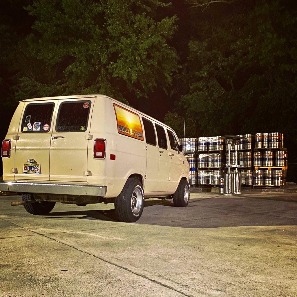Vintage Van rear three-quarter night
