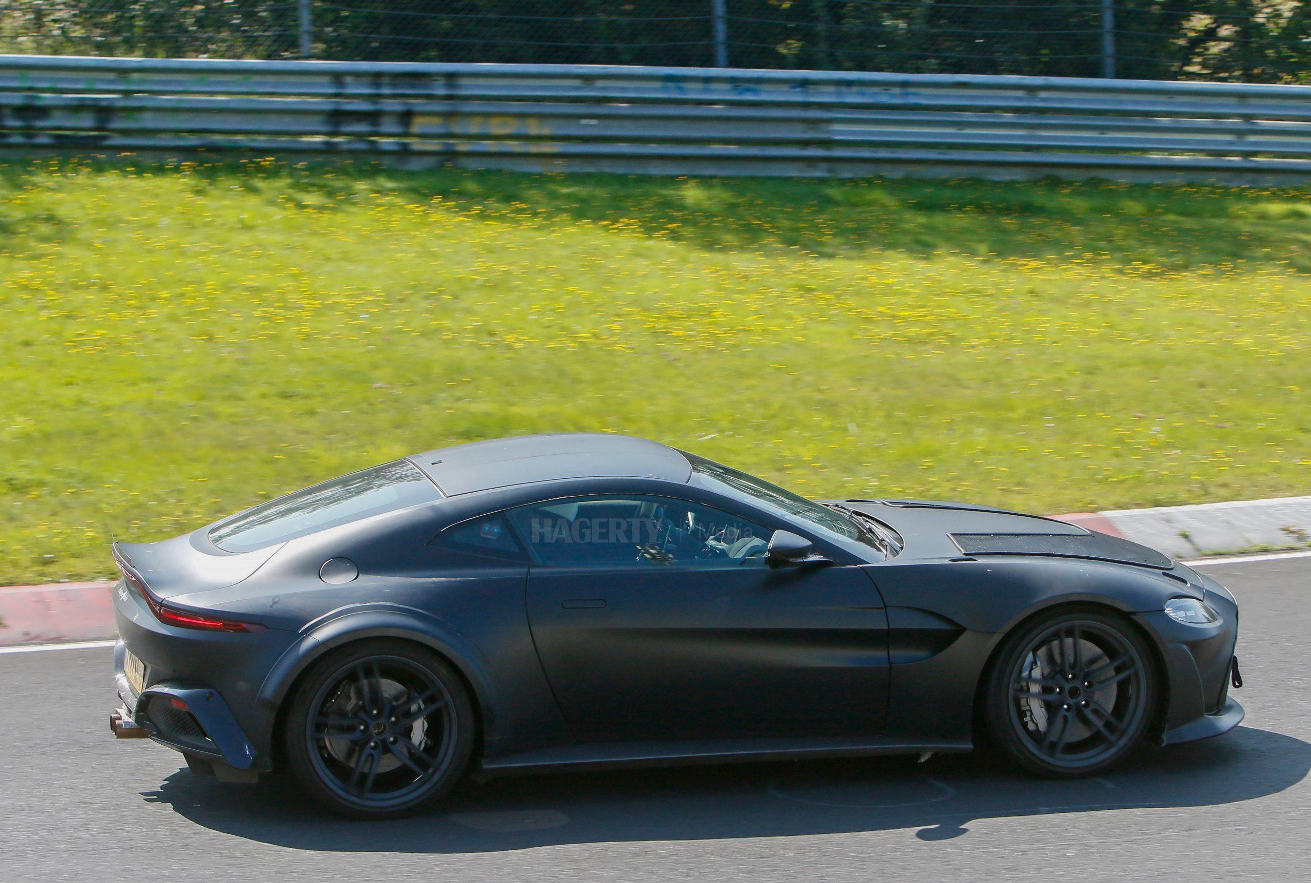 Aston Martin Vantage mule spy shot side