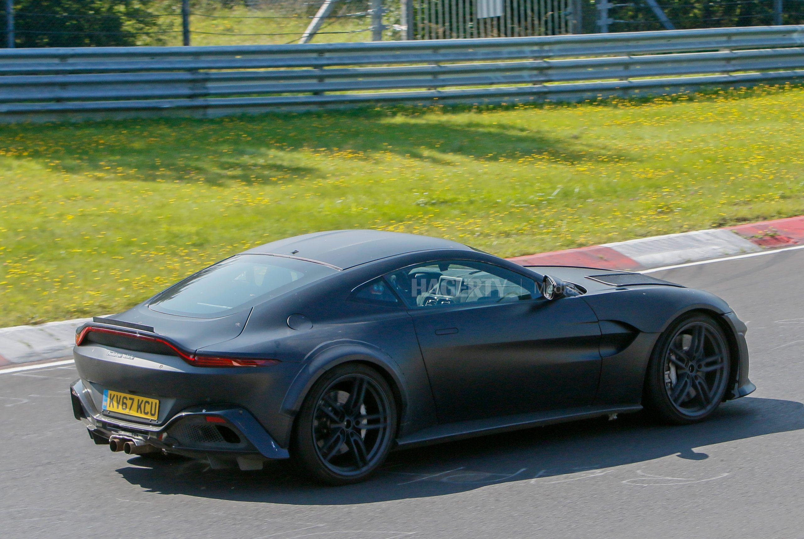 Aston Martin Vantage mule spy shot rear three-quarter