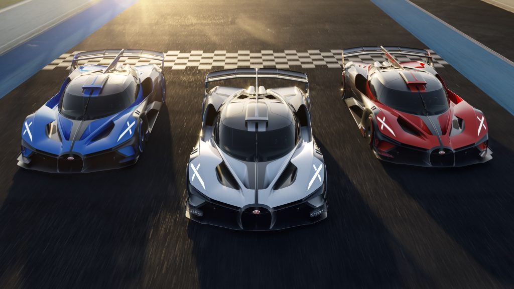 Bolide Bugatti series production announcement three track
