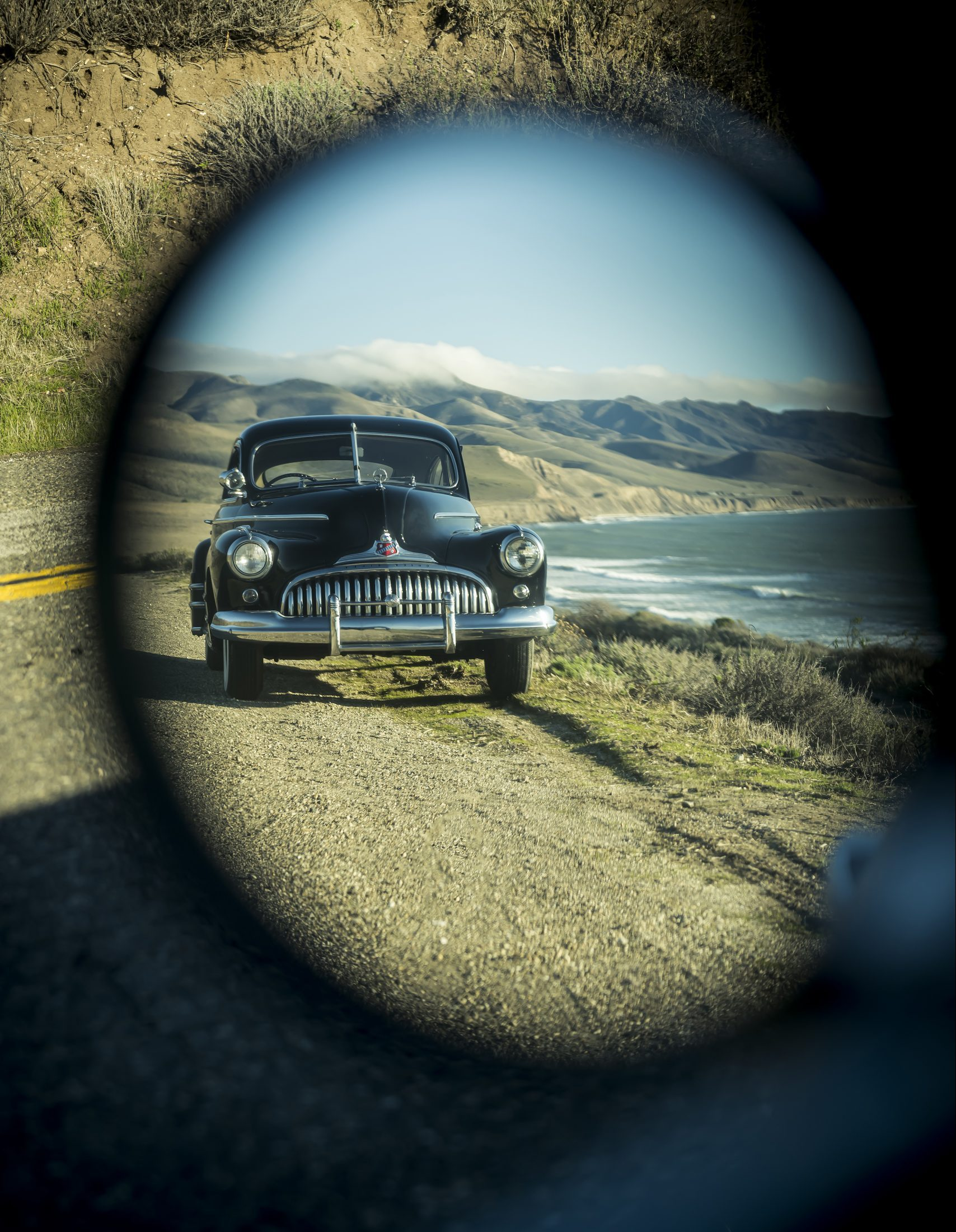 1946 Buick Special in rearview mirror