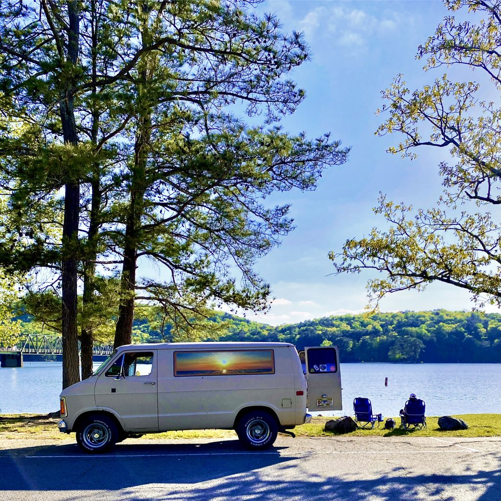 Vintage Van side profile lakeside park