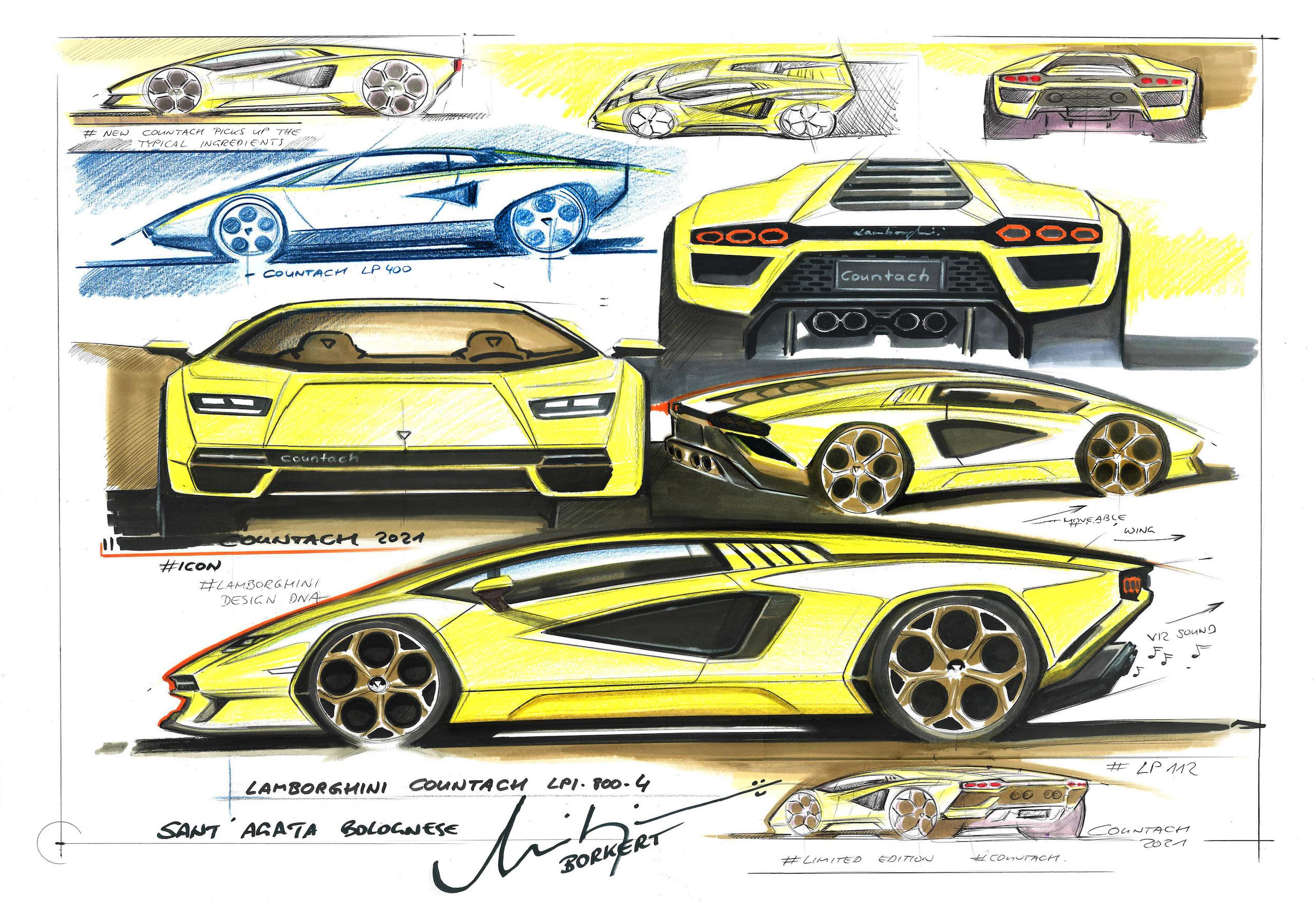 Countach LPI 800 design sketches