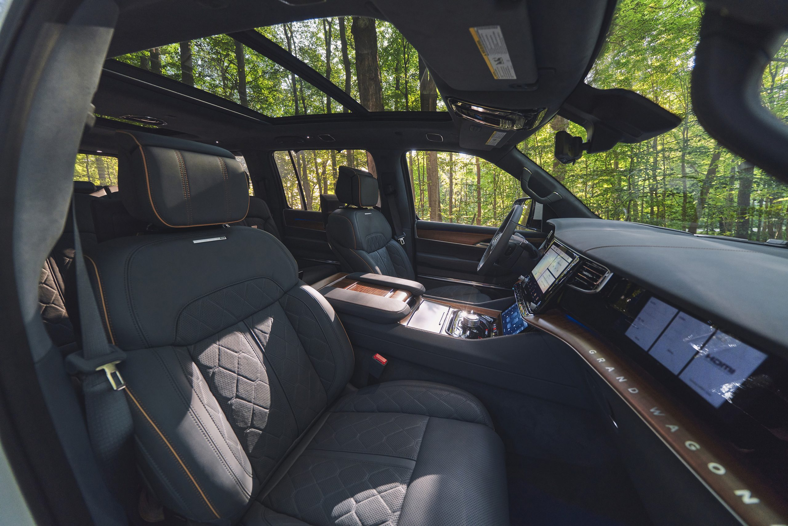 2022 Grand Wagoneer woodsy blue agave interior