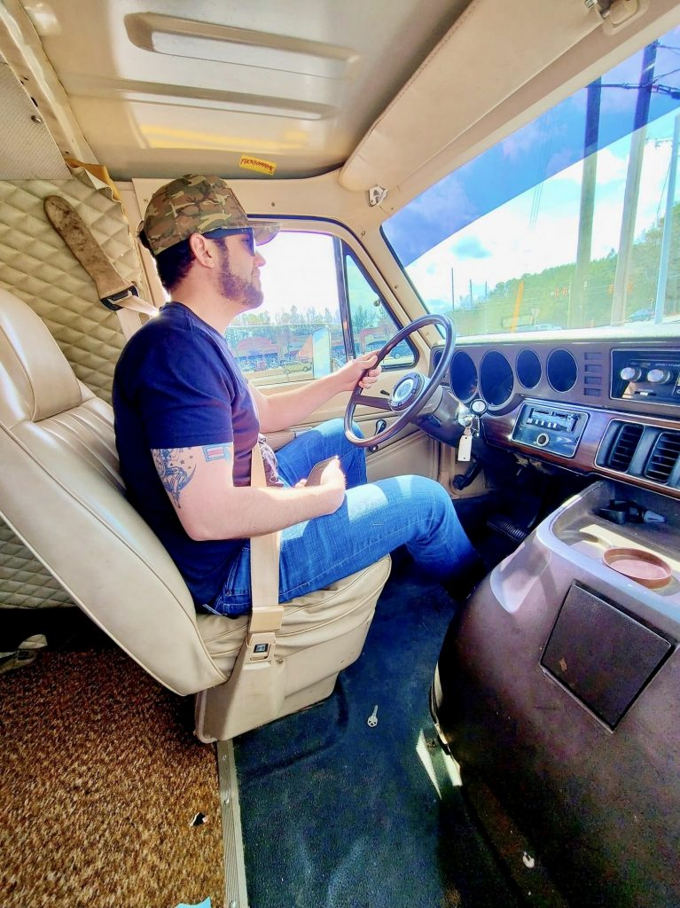 Vintage Van interior driving action