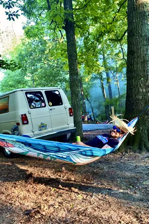 Vintage Van rear hammock camp hang