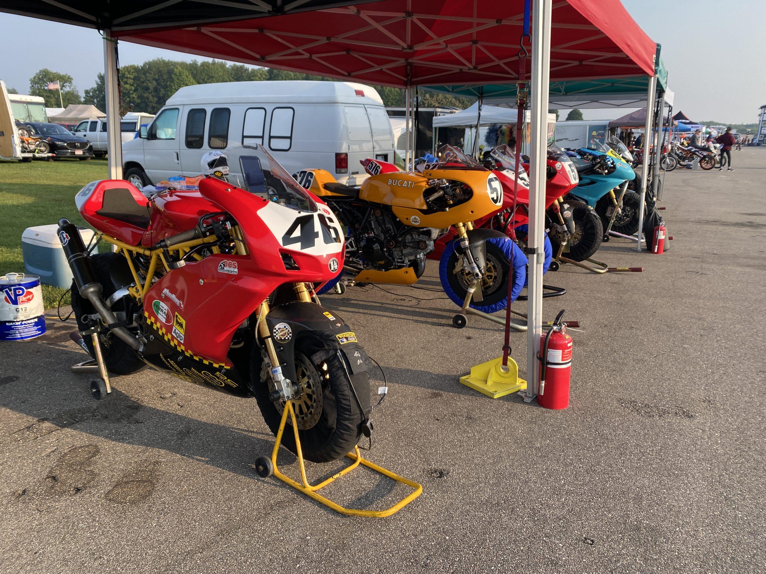 bikes in AHRMA paddock Gingerman