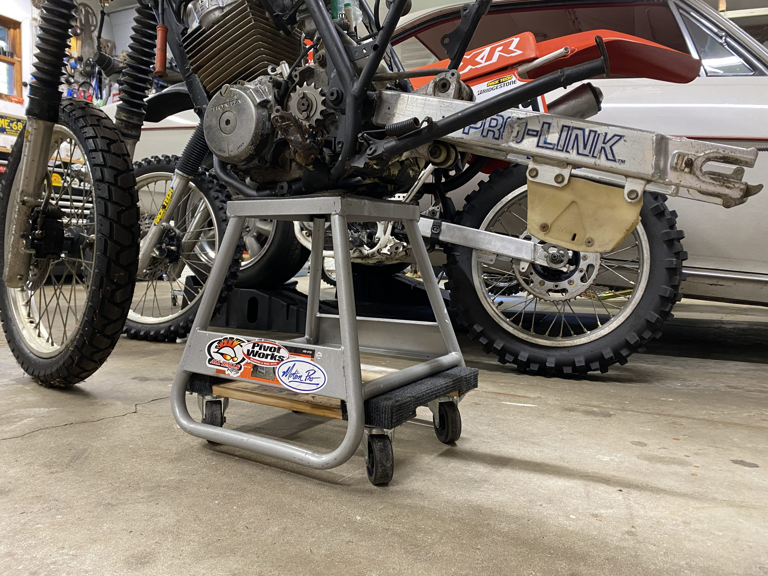 rolling motorcycle stand