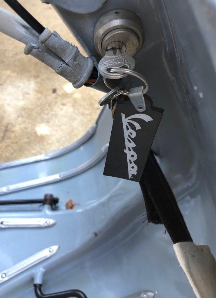 Josh Rogers - 1946 Vespa 90 - close-up ignition key