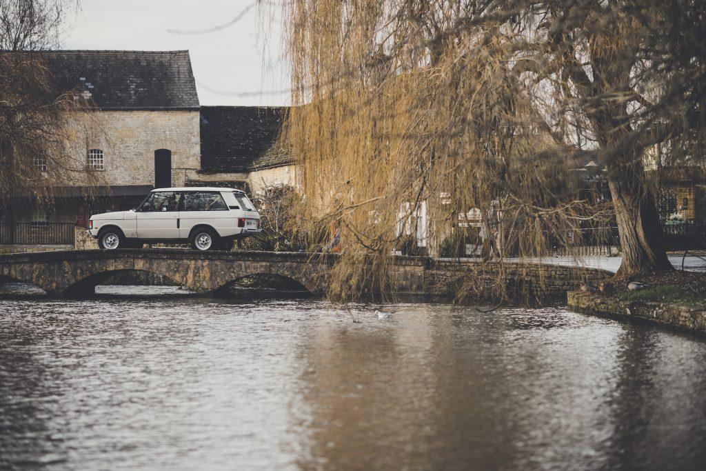 Range Rover Restomod rear three-quarter bridge crossing