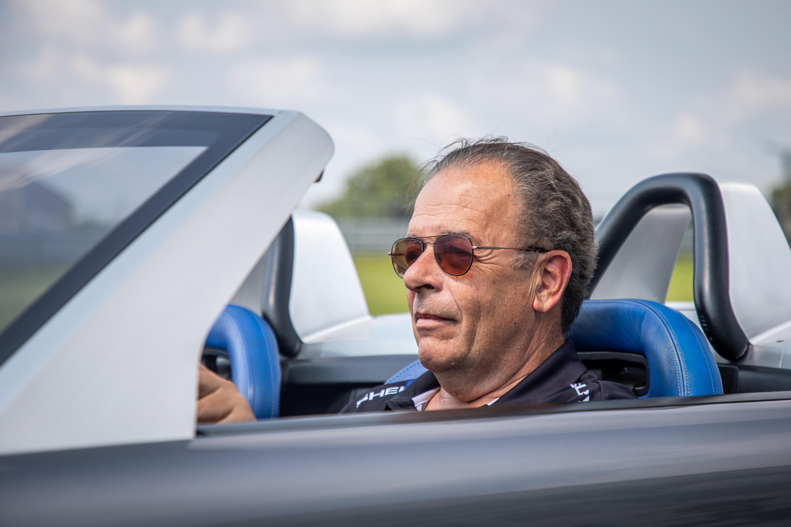 Cobra Concept driver portrait behind wheel