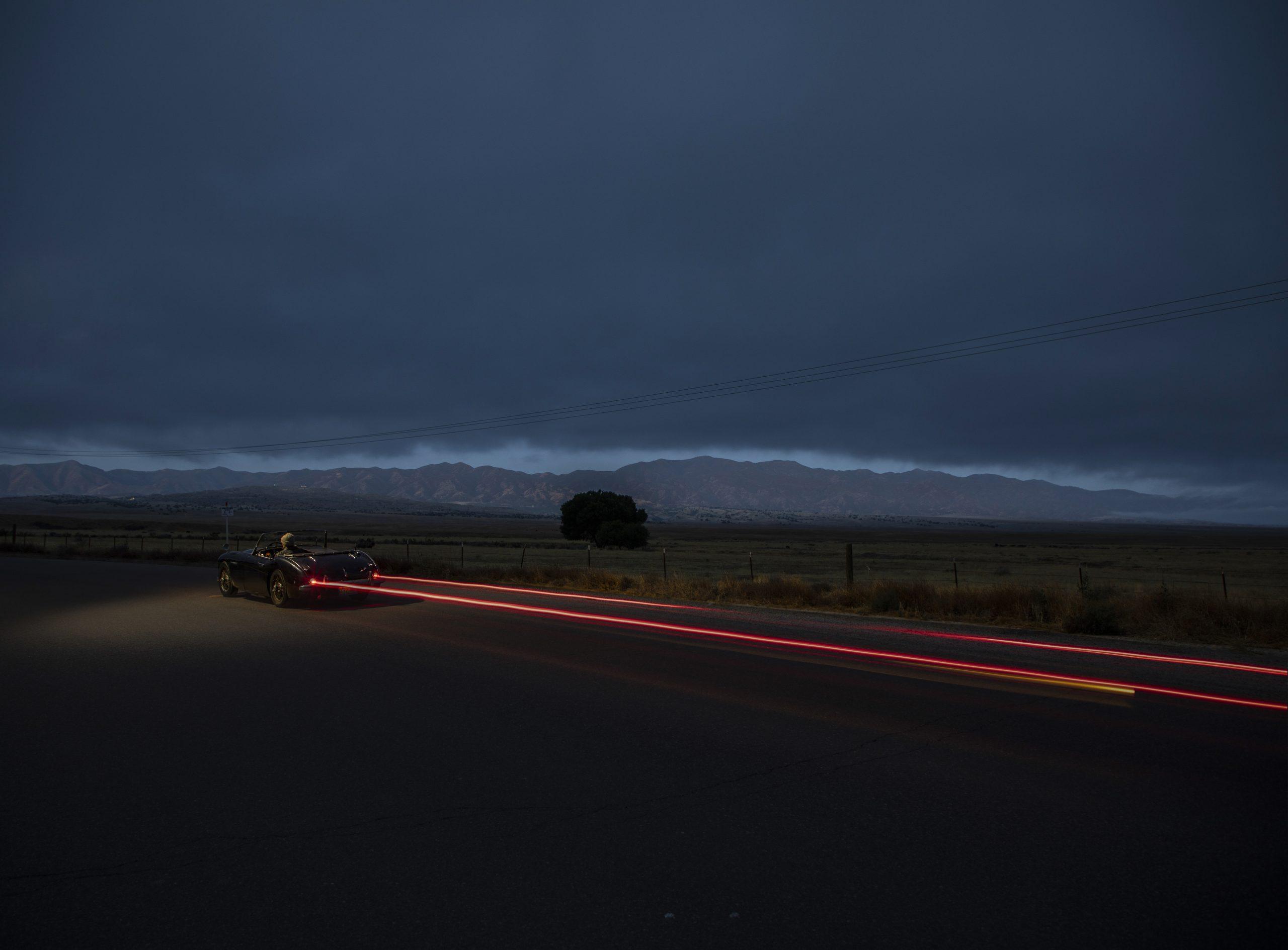 Austin-Healey night taillight blur