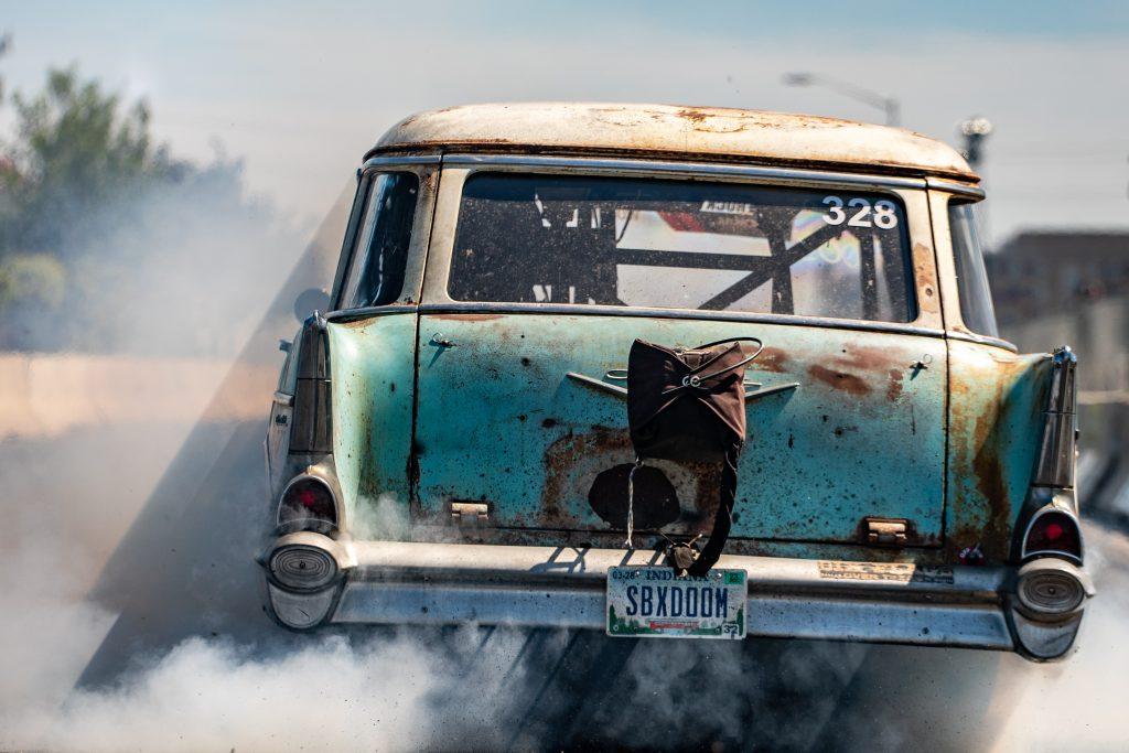 Roadkill Nights 2021 shitbox of doom tom bailey burnout
