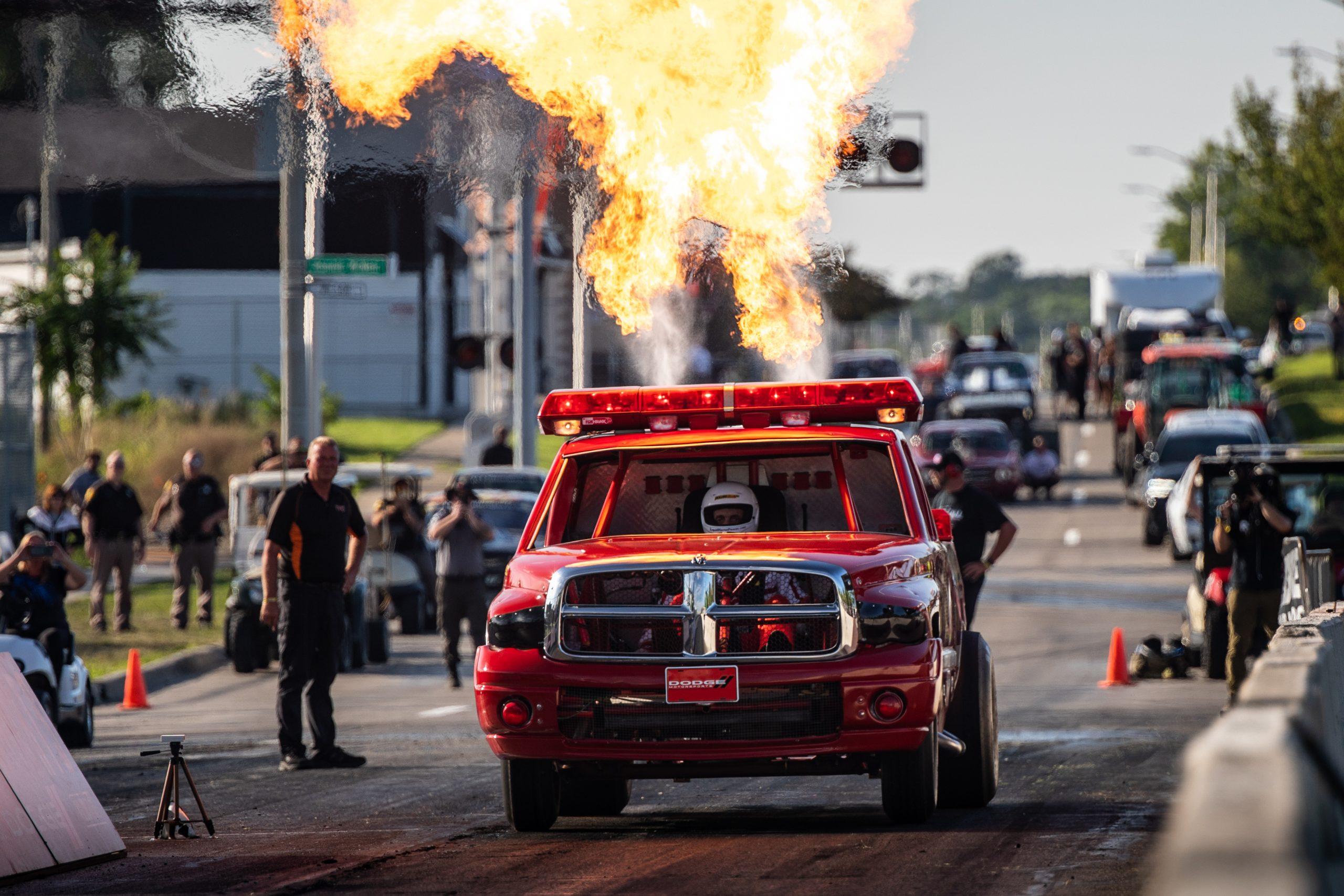 Roadkill Nights 2021 Roadkill Nights 2021 wheelstand Dodge Ram fire truck flamethrow