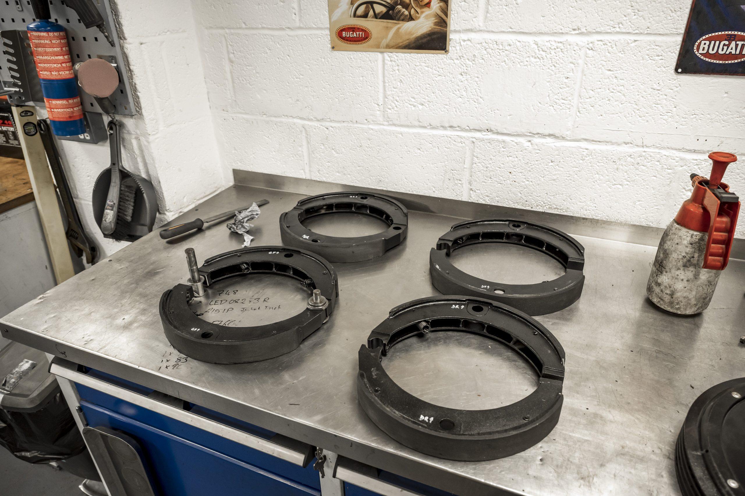 Tula Precision brake shoes on table