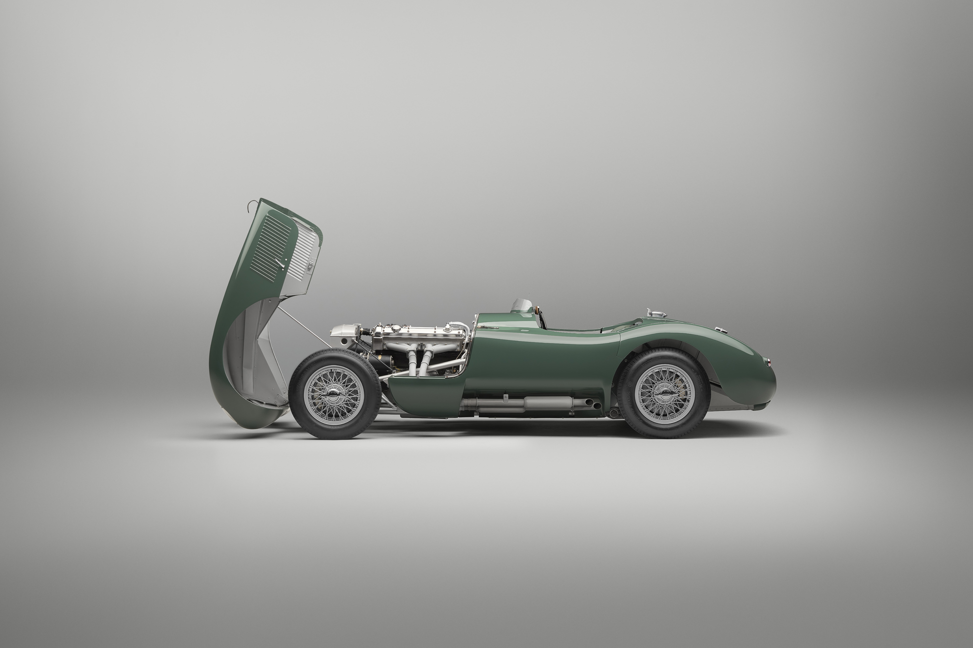 Jaguar C-type continuation hood open