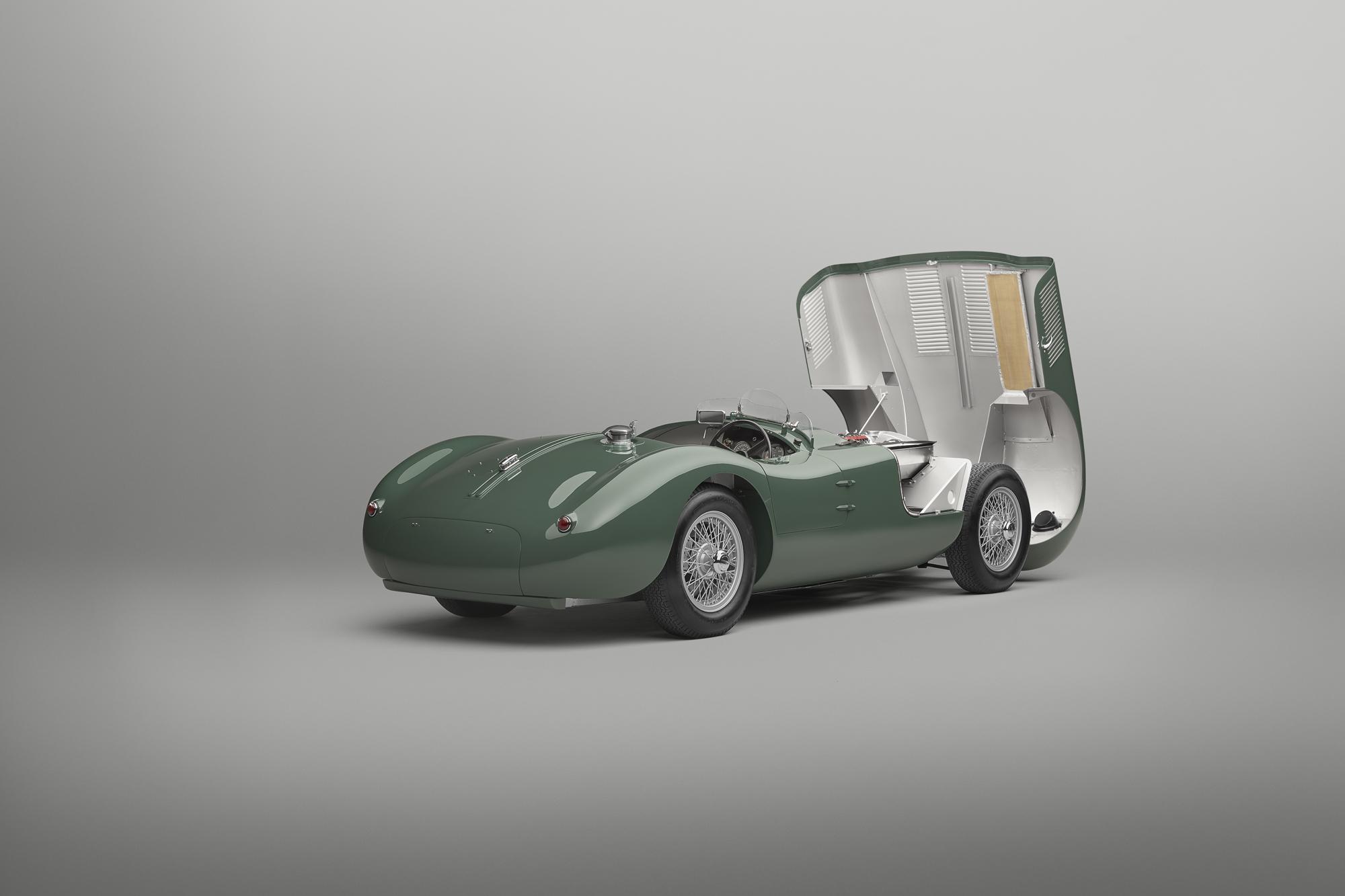 Jaguar C-type continuation hood open 2