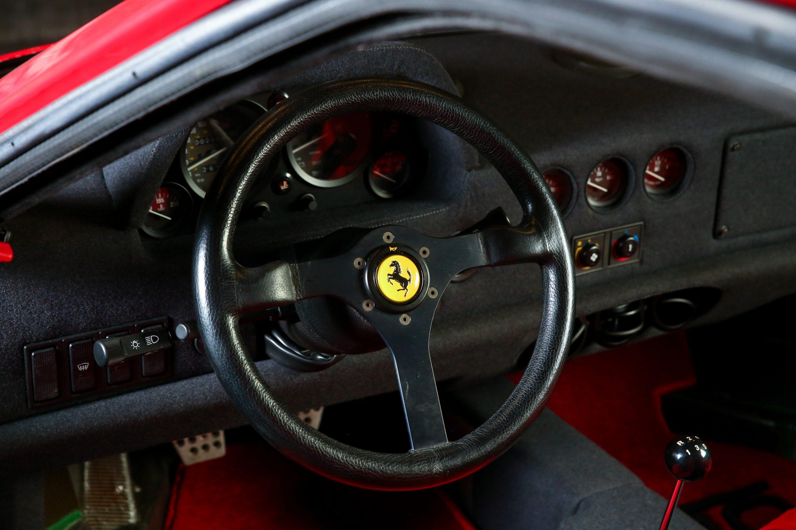 1991 Ferrari F40 interior steering wheel