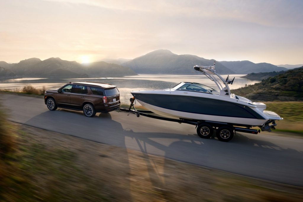 2022 Chevrolet Tahoe RST towing boat