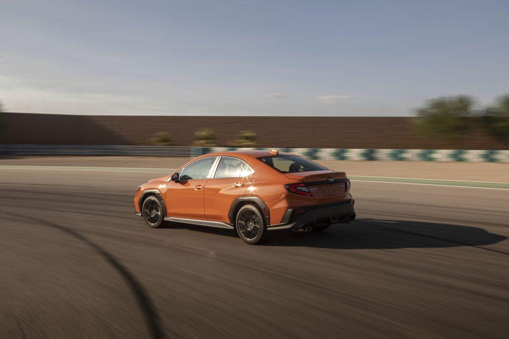 2022 Subaru WRX rear three-quarter cornering action