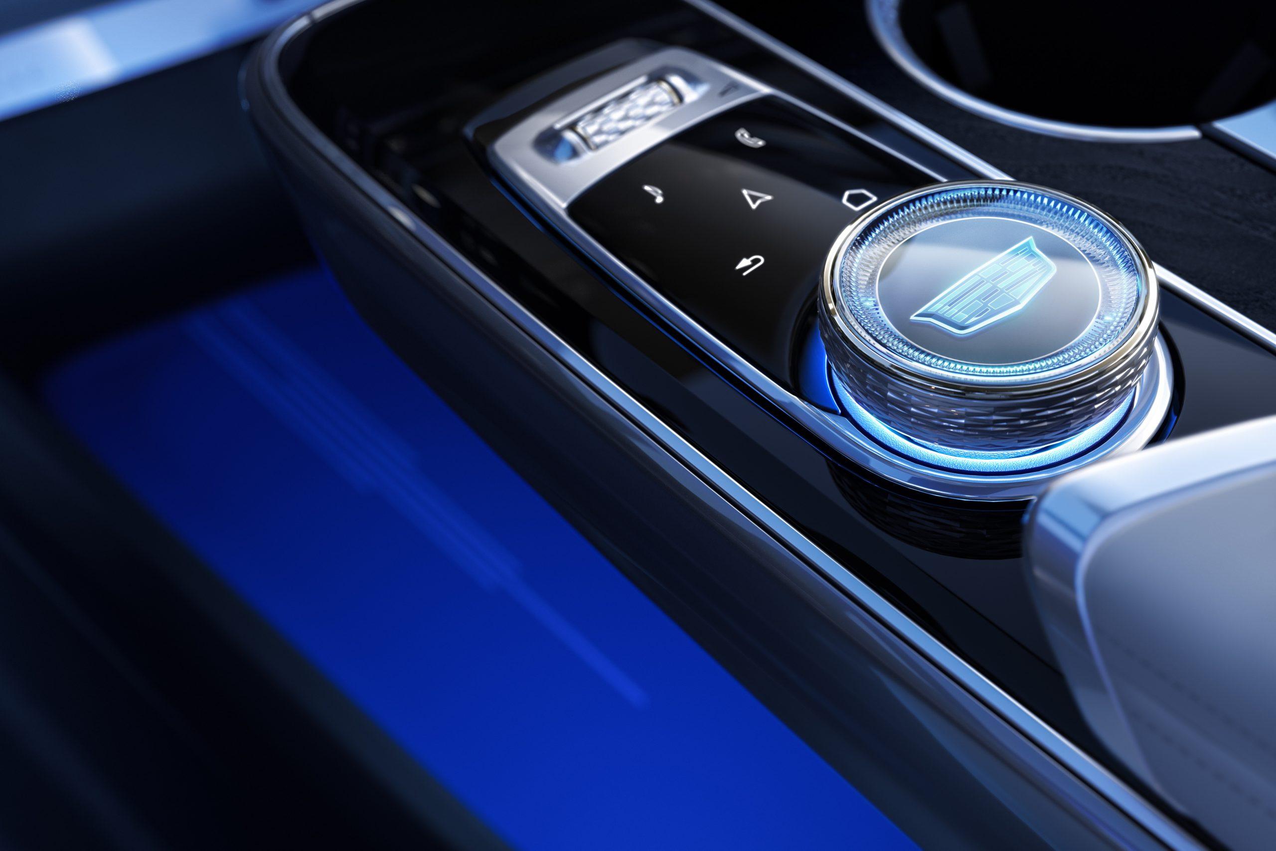 2023 Cadillac Lyriq interior console controller lit up