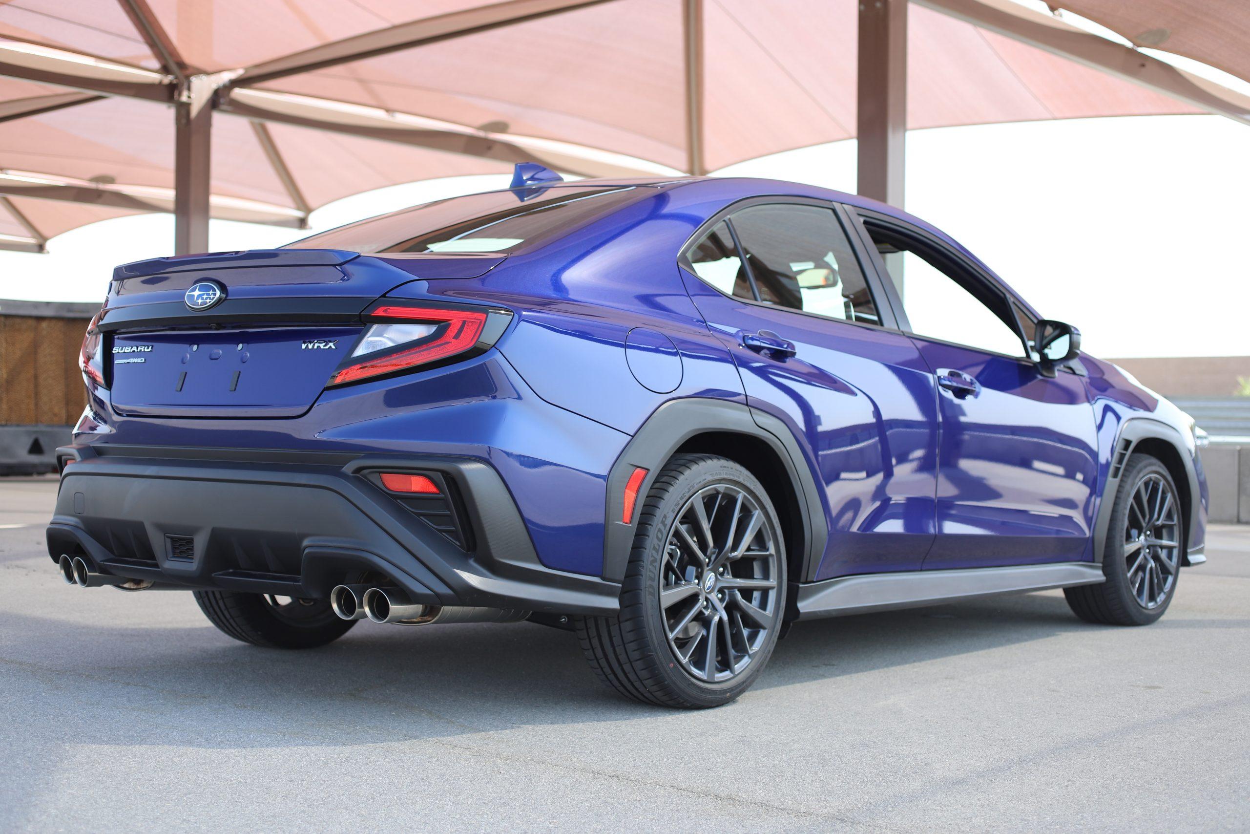 2022 Subaru WRX blue rear three-quarter
