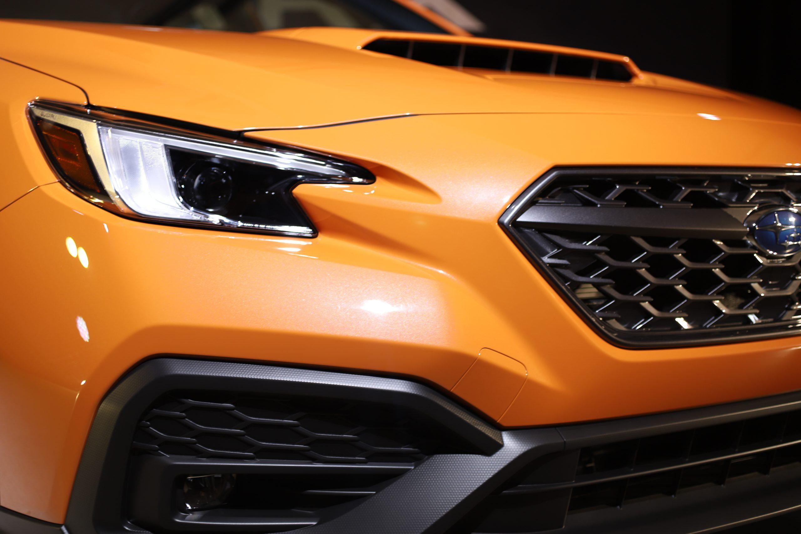 2022 Subaru WRX orange front end close