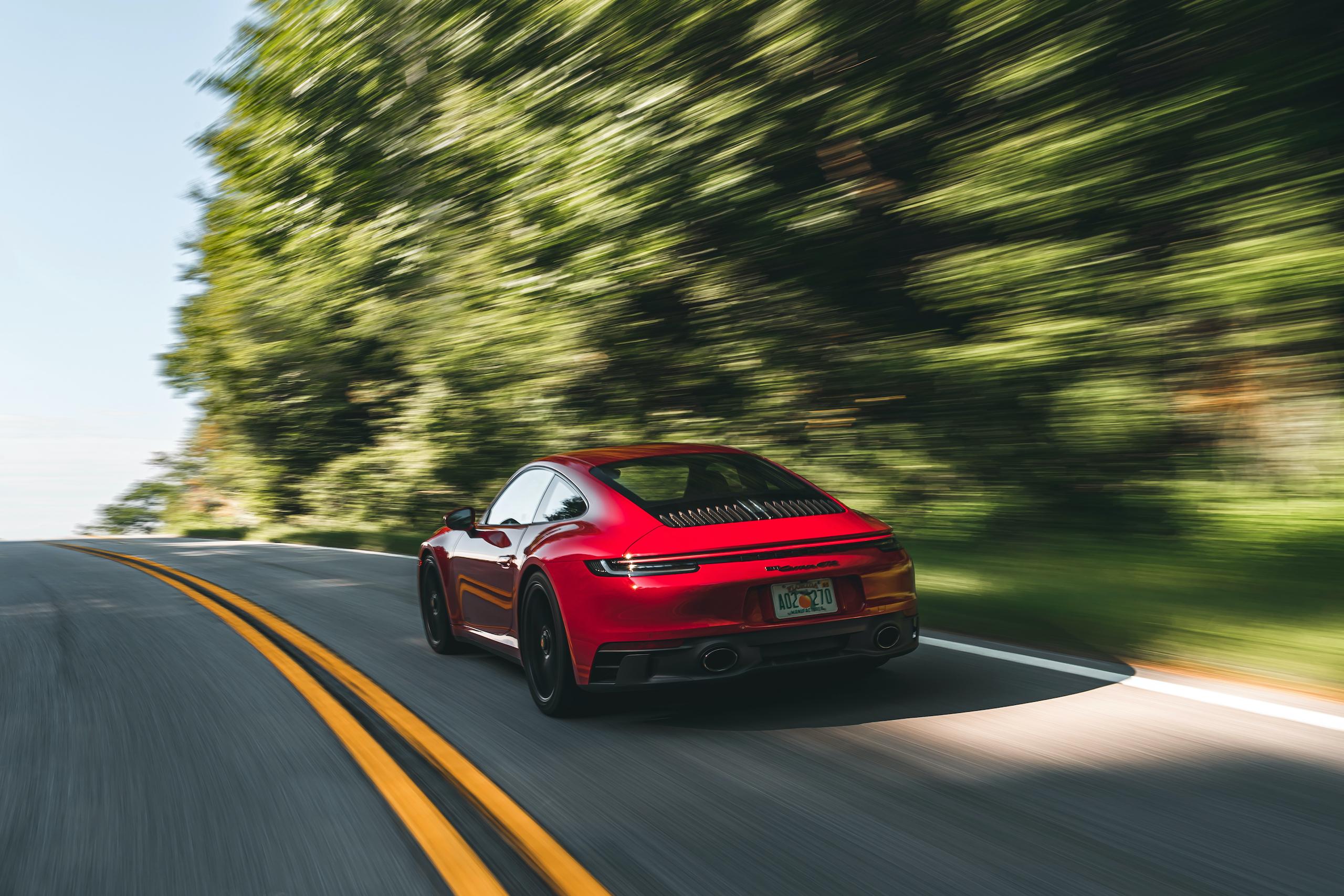 Porsche 911 GTS rear three-quarter action