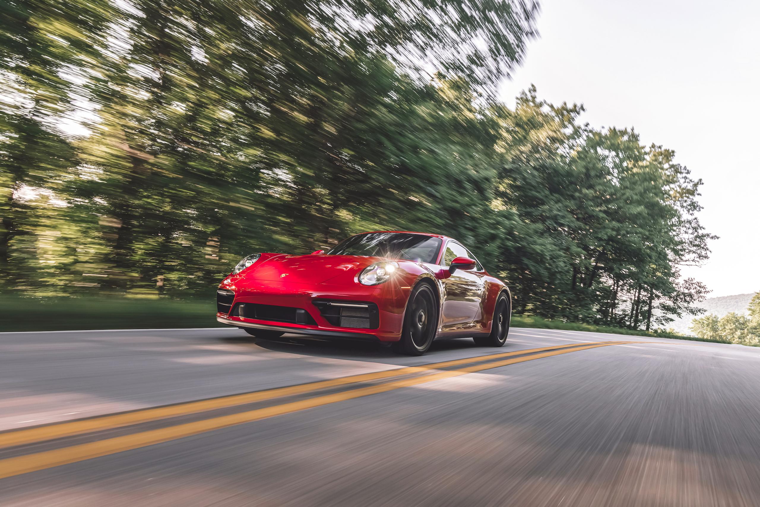 Porsche 911 GTS front three-quarter action