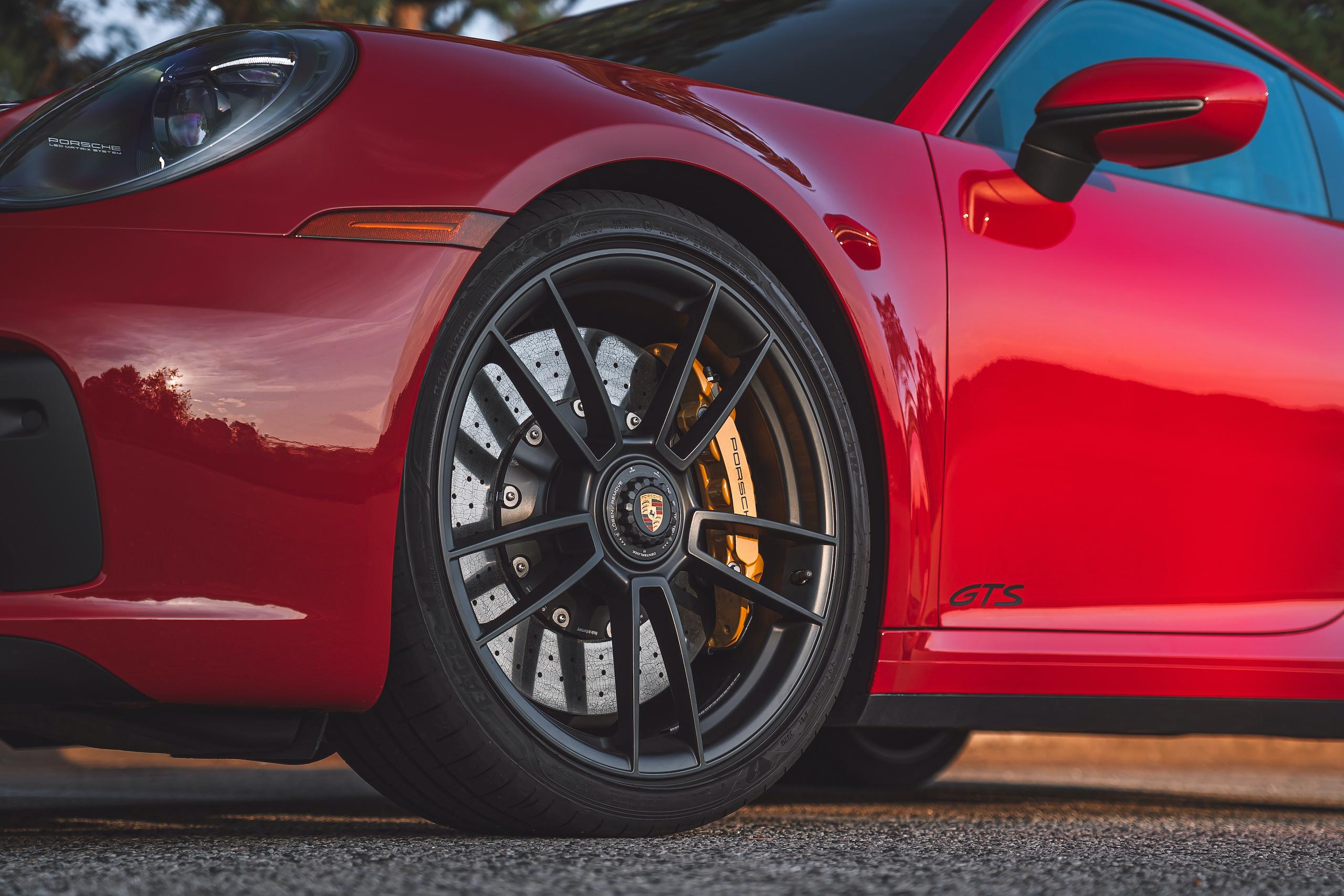 Porsche 911 GTS front wheel brake tire