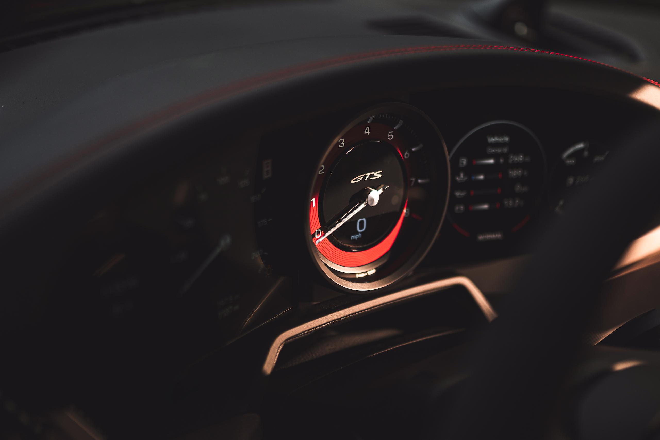 Porsche 911 GTS interior tach gauge
