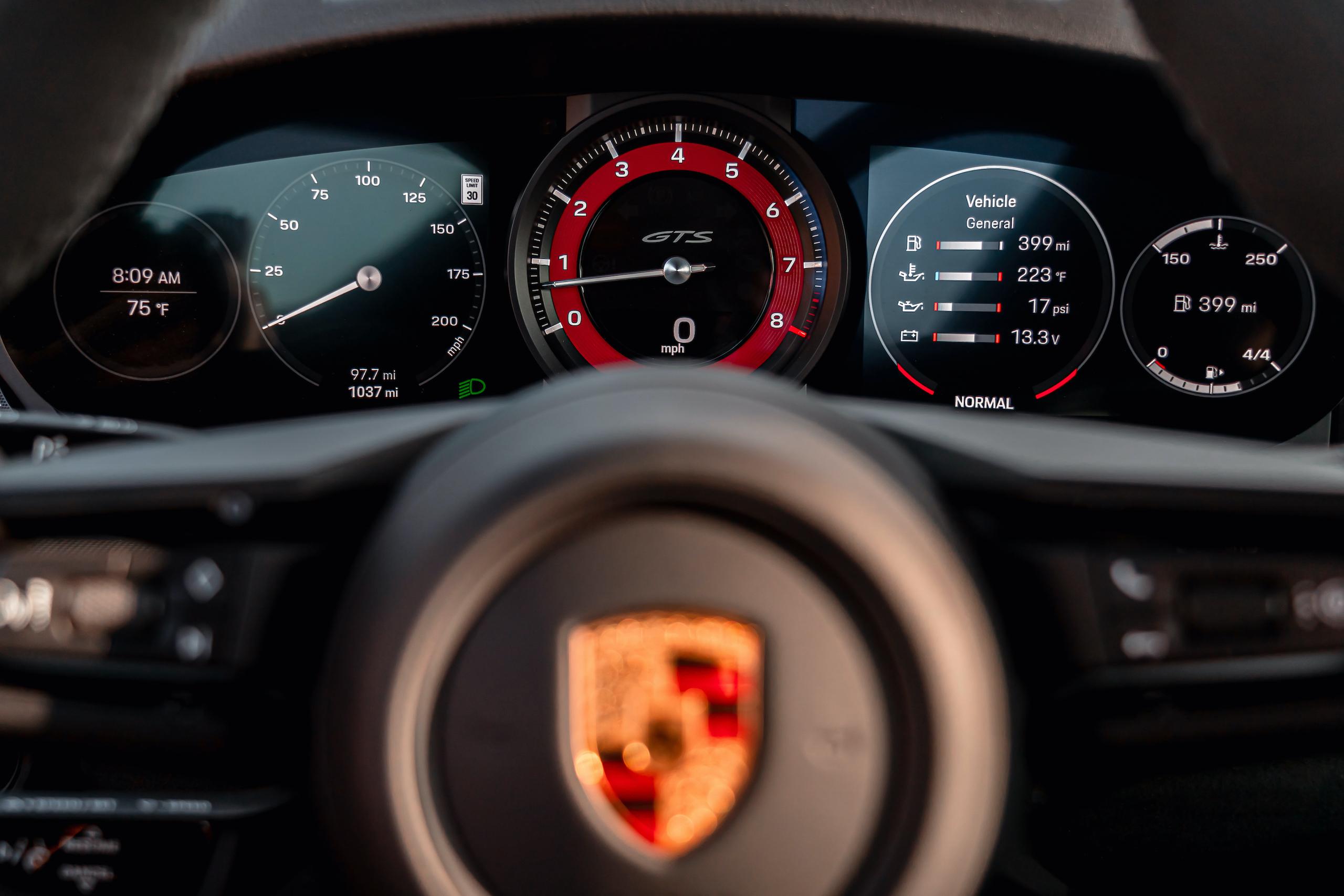 Porsche 911 GTS interior digital dash