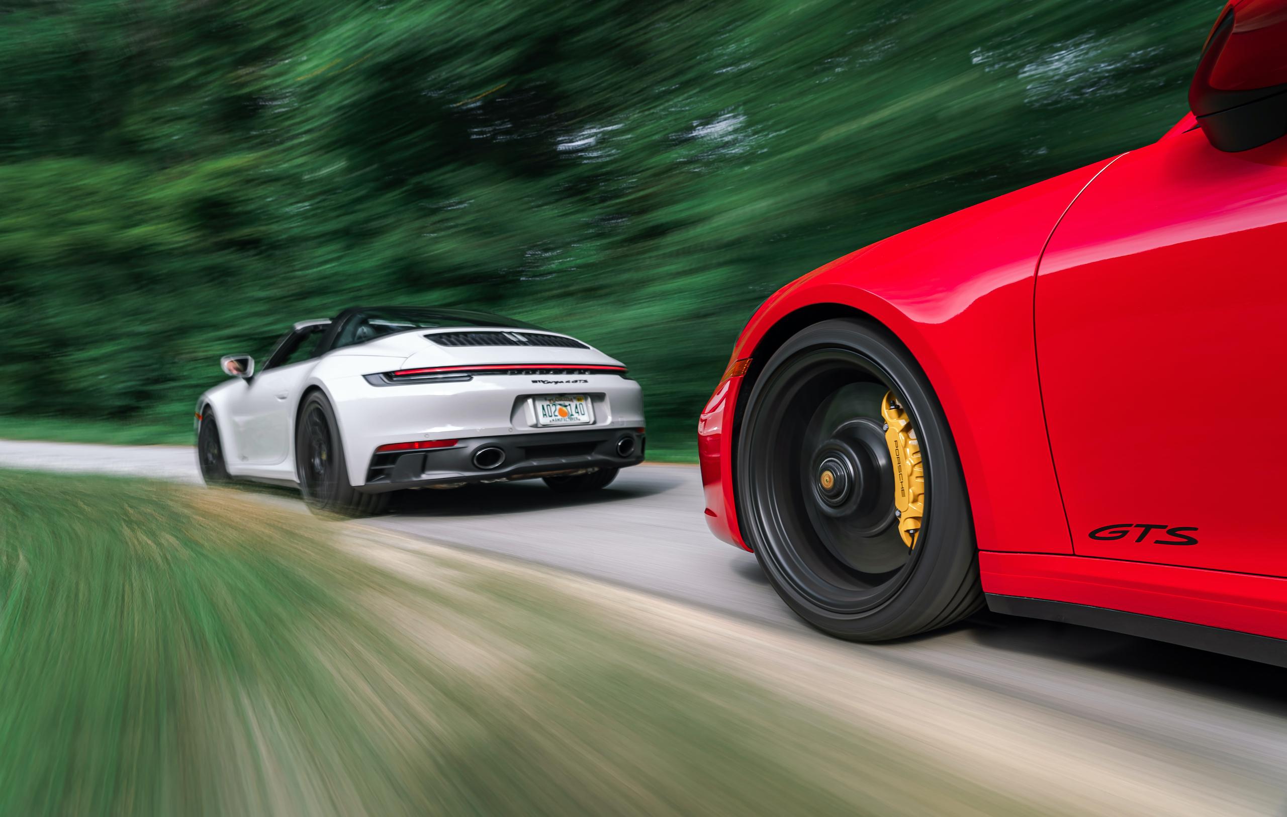 Porsche 911 GTS and Targa 4 GTS action