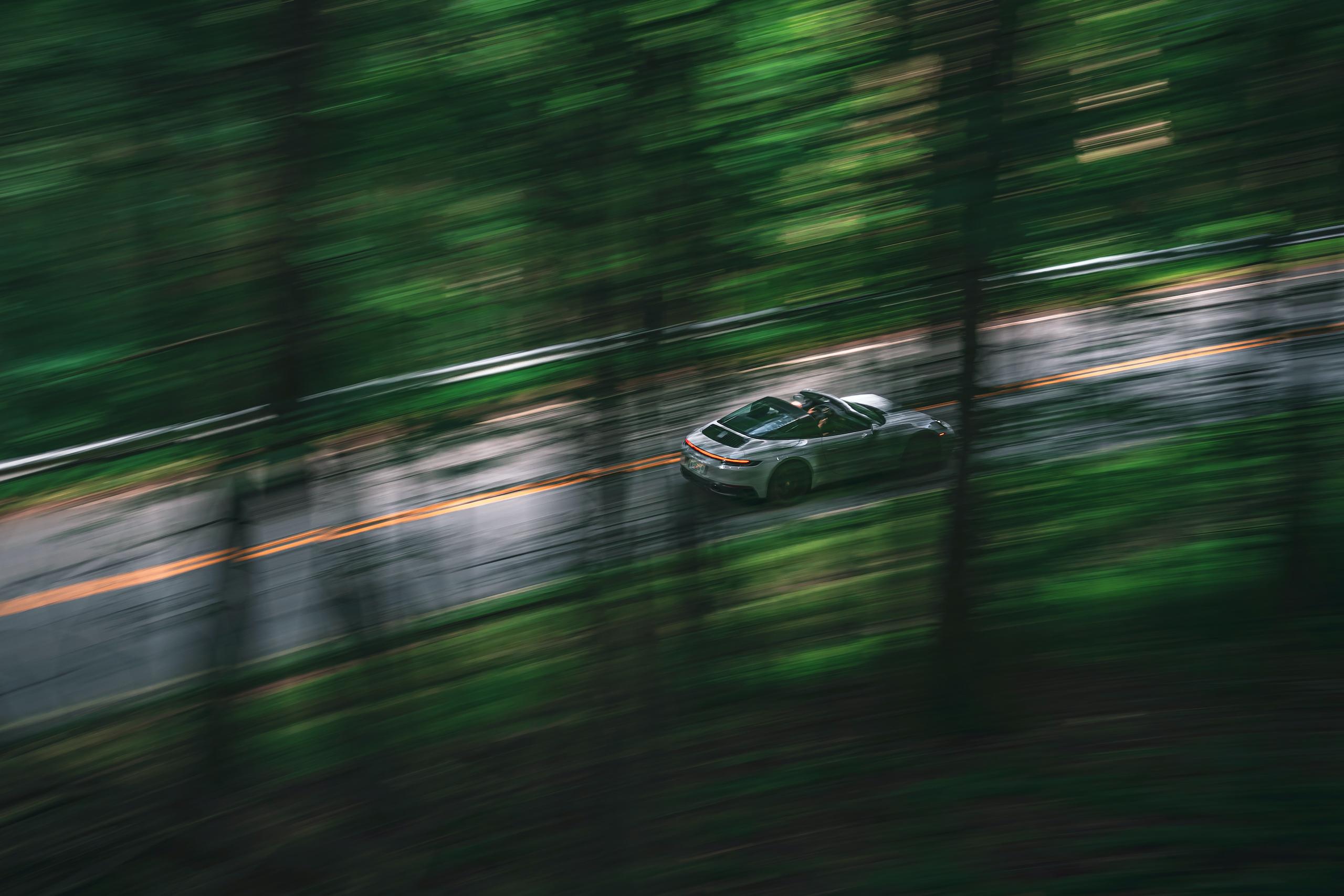 Porsche 911 Targa 4 GTS rear three-quarter dynamic action