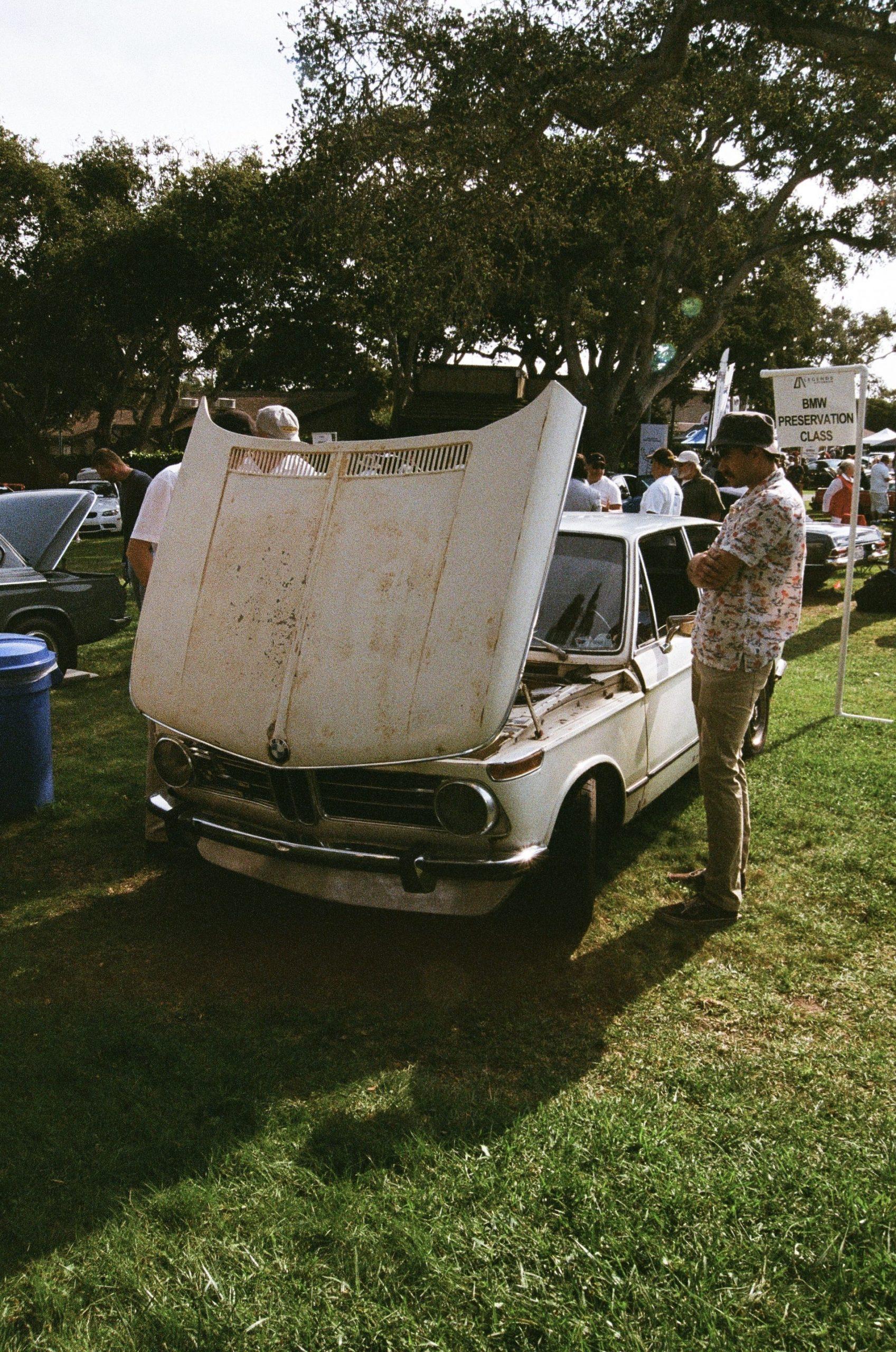 BMW 2002 hood open vertical
