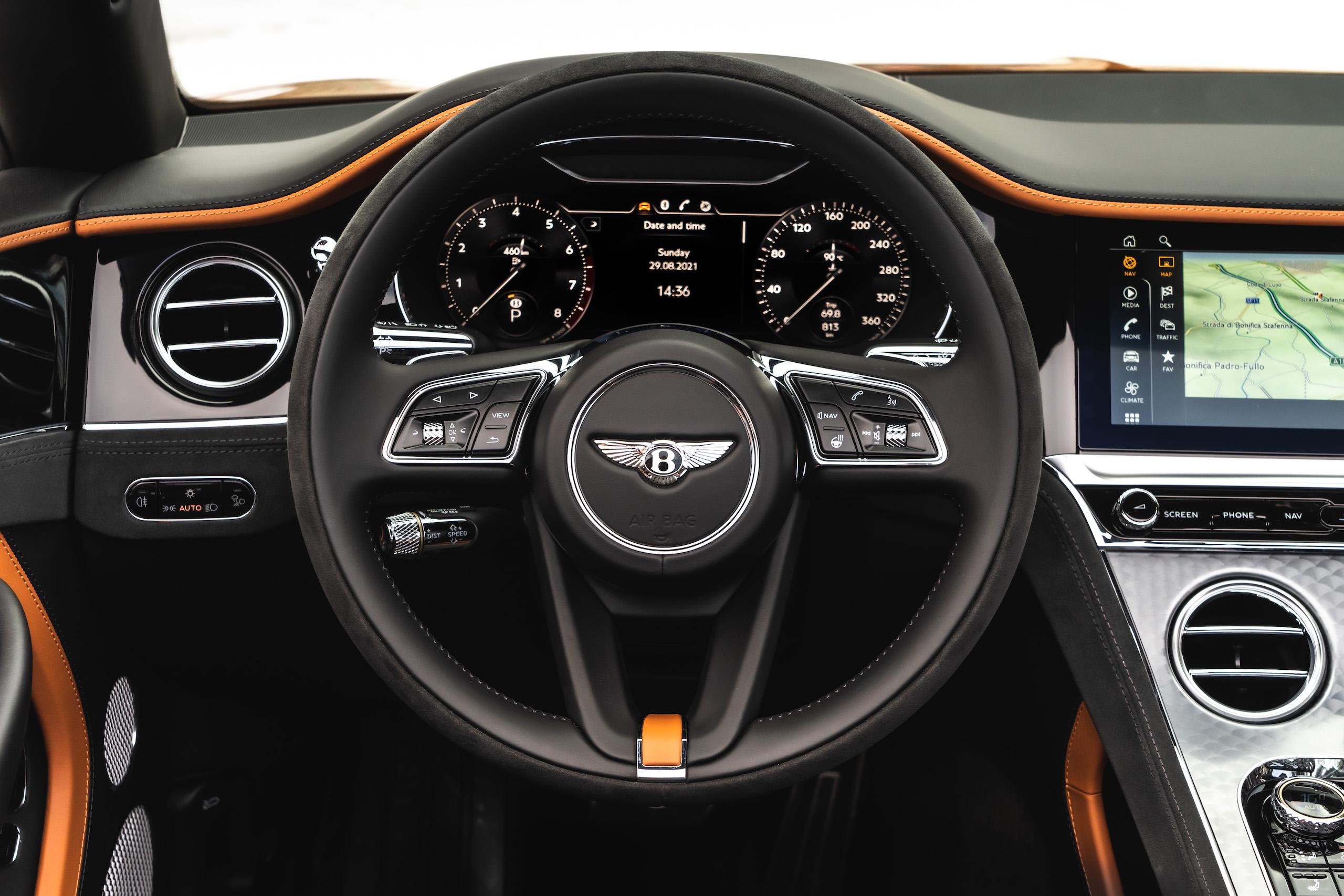 Bentley GT Speed Convertible steering wheel close