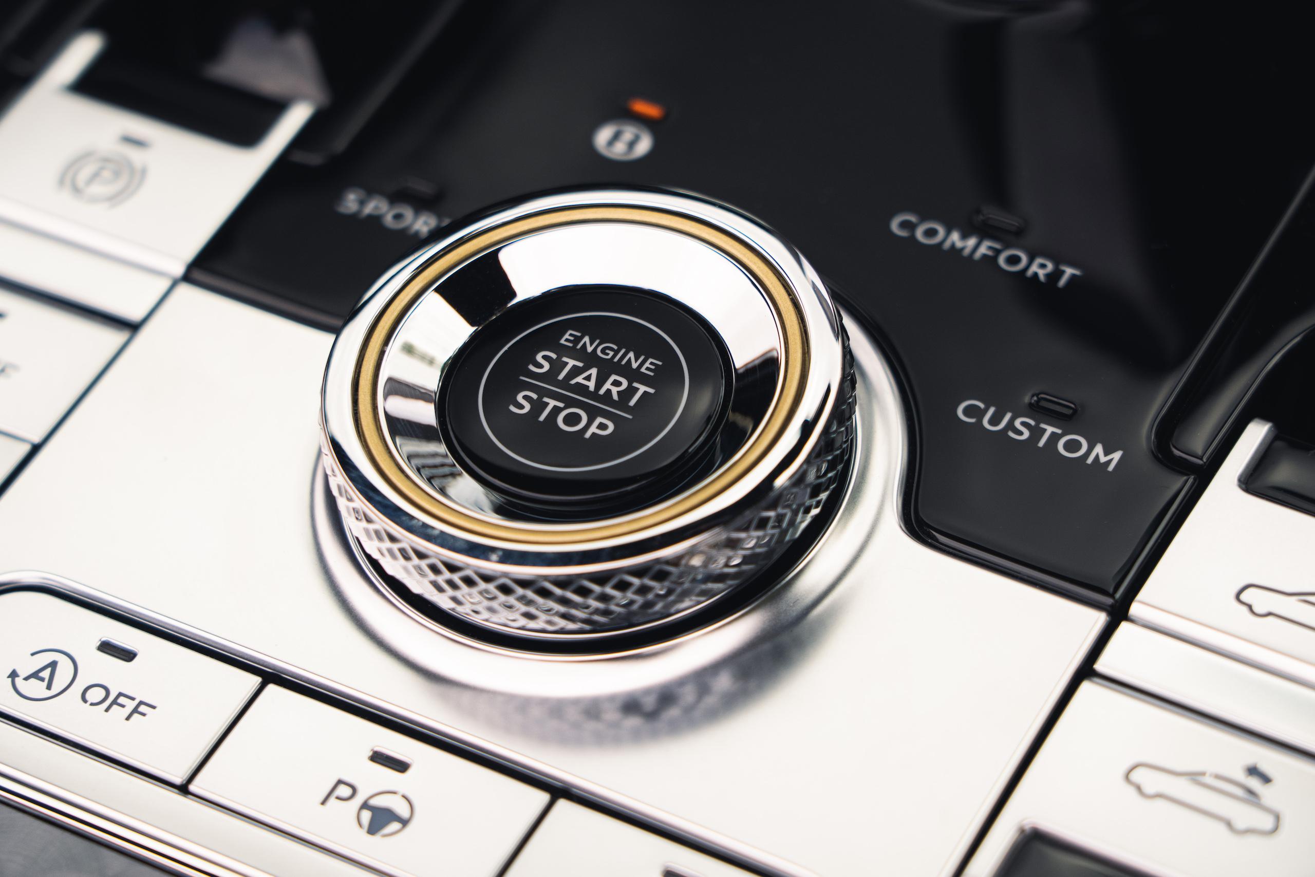 Bentley GT Speed Convertible console start stop dial