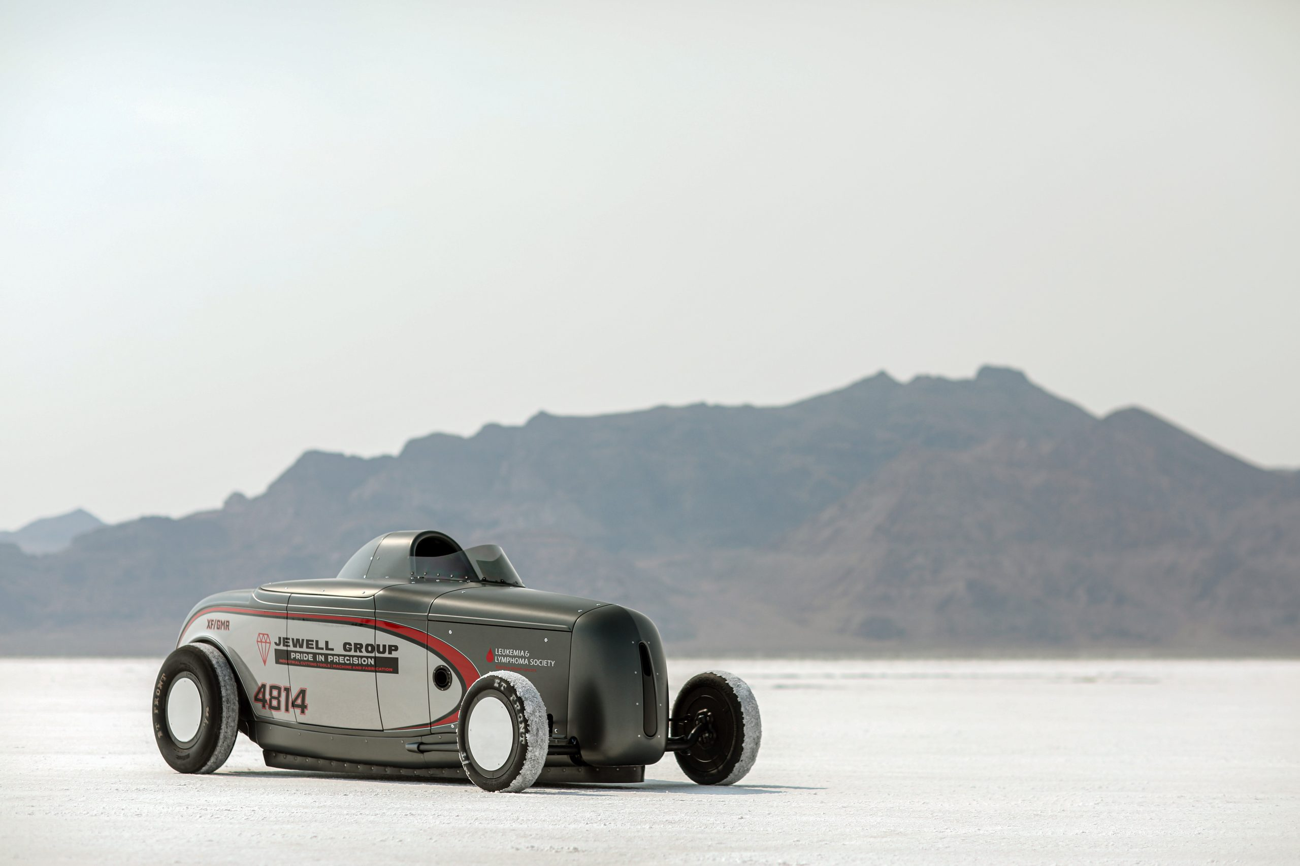A seriously mean flathead V-8 powers this Bonneville record holder