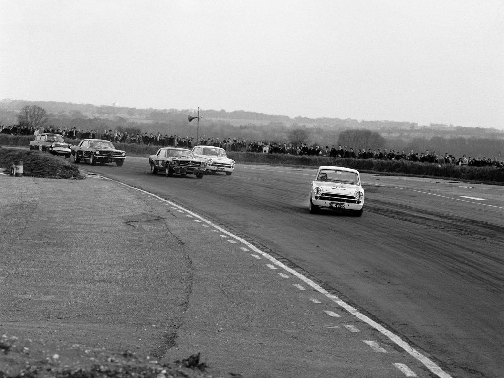 1966 Jim Clark Lotus Cortina racing race car Ford Mustang