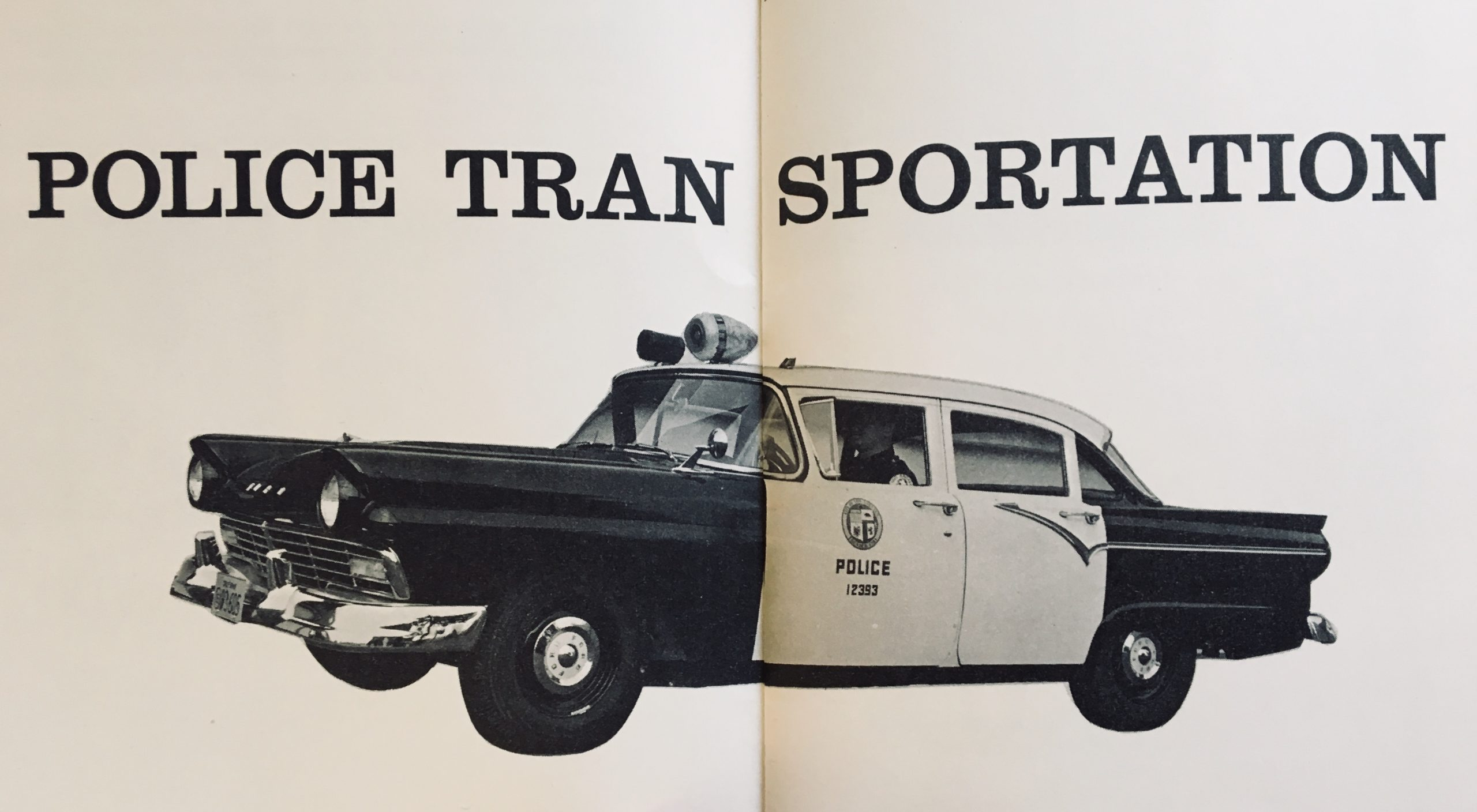 vintage ford cop car two page black white