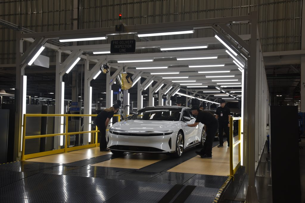 Lucid Air production line finishing touches